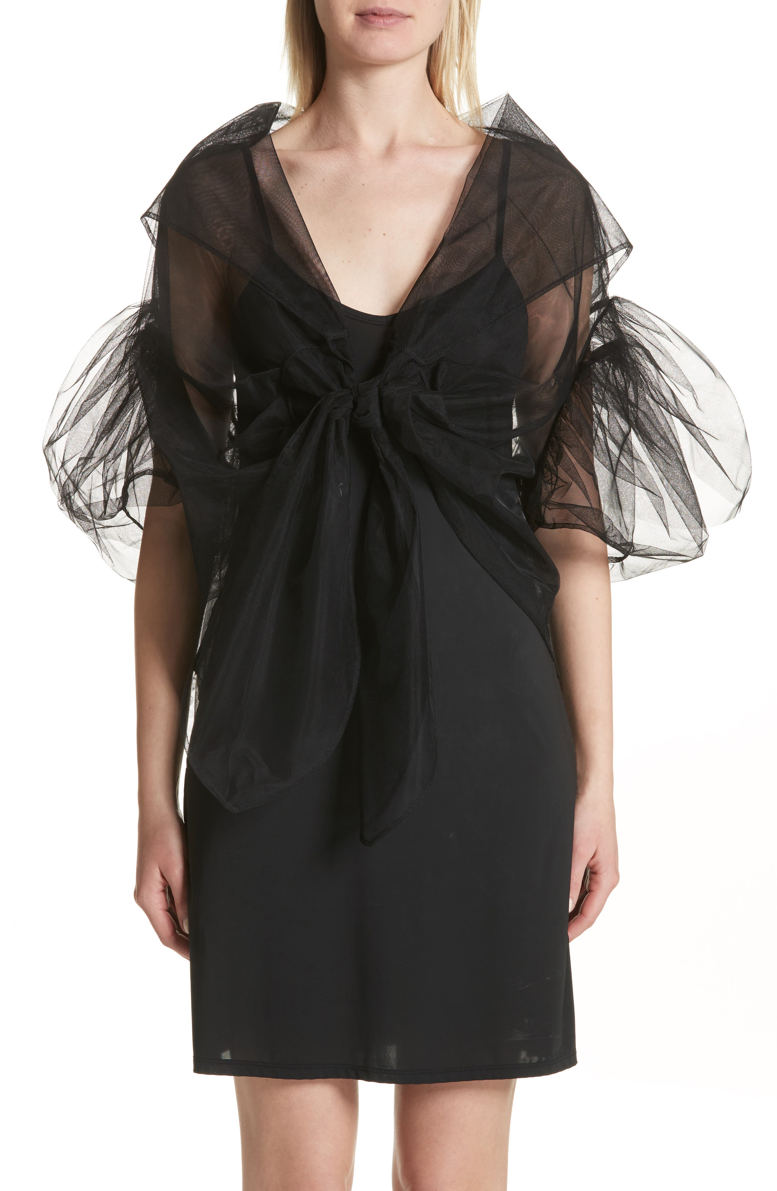 Lace Trim Tulle Wrap with Sleeves,                             Main thumbnail 1, color,                             001