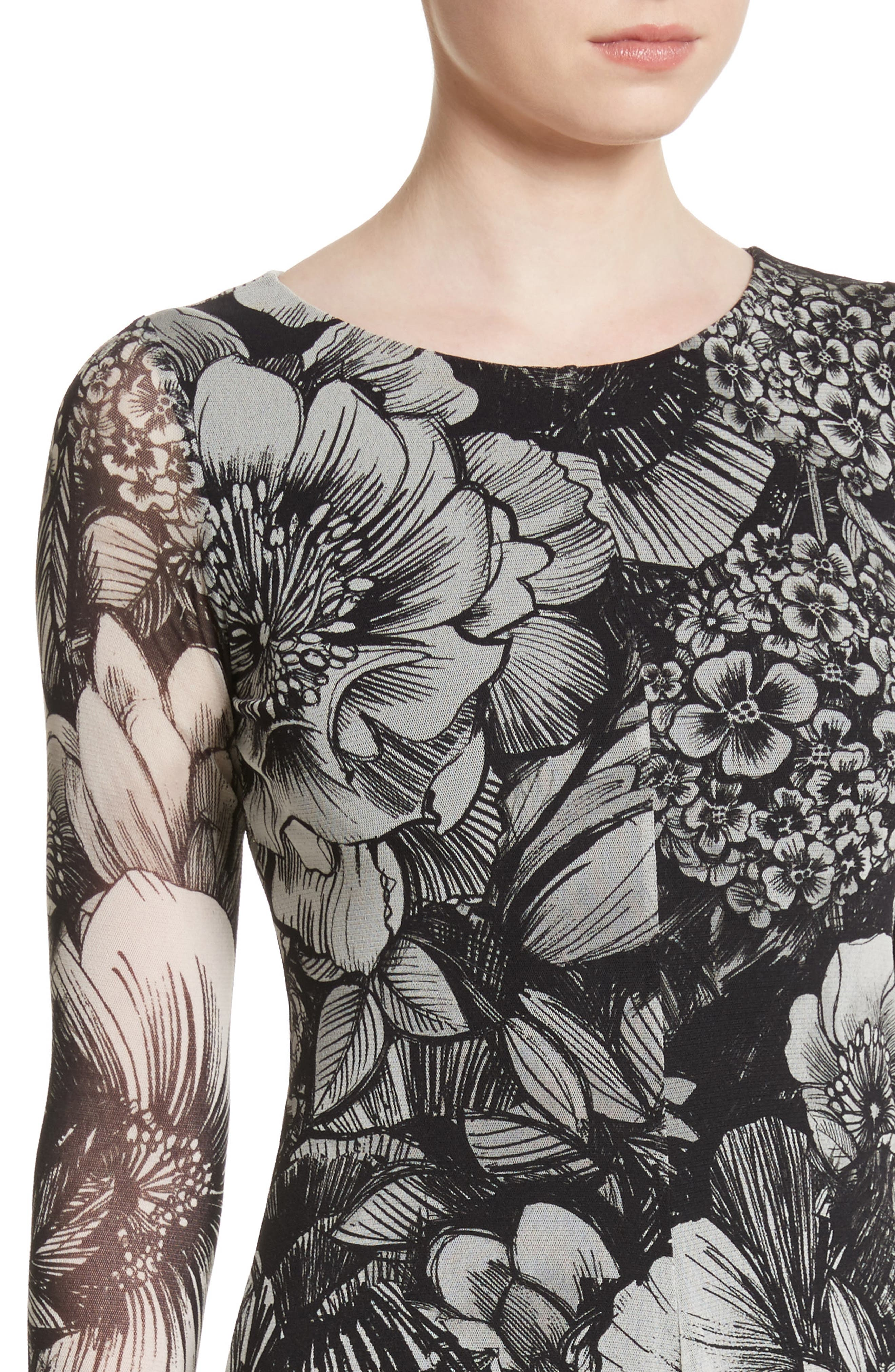 Ruffle Floral Print Tulle Dress,                             Alternate thumbnail 4, color,