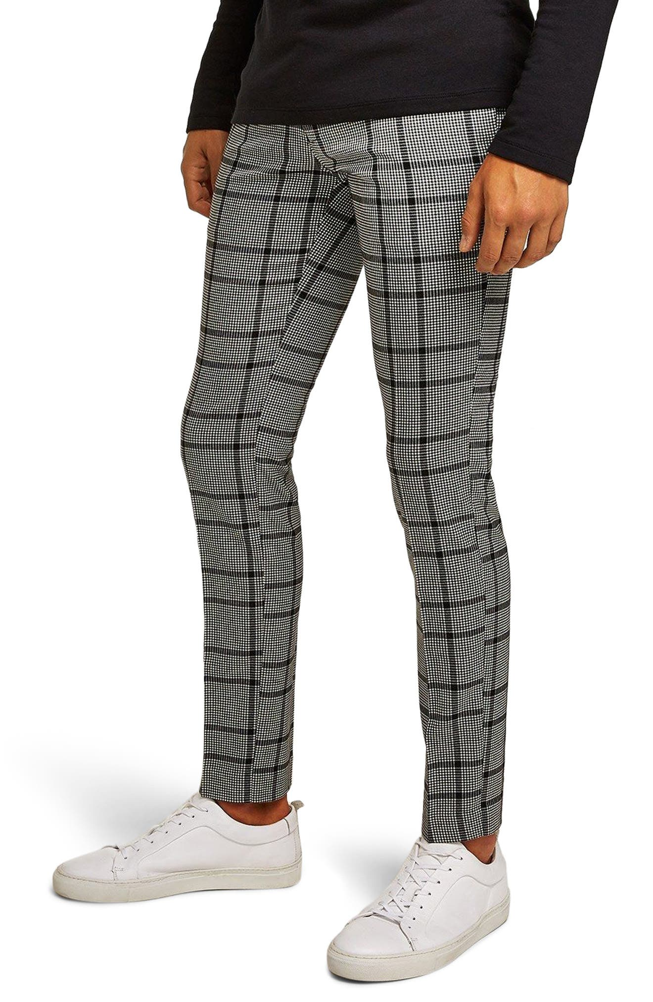 Check Skinny Fit Trousers,                         Main,                         color, BLACK MULTI
