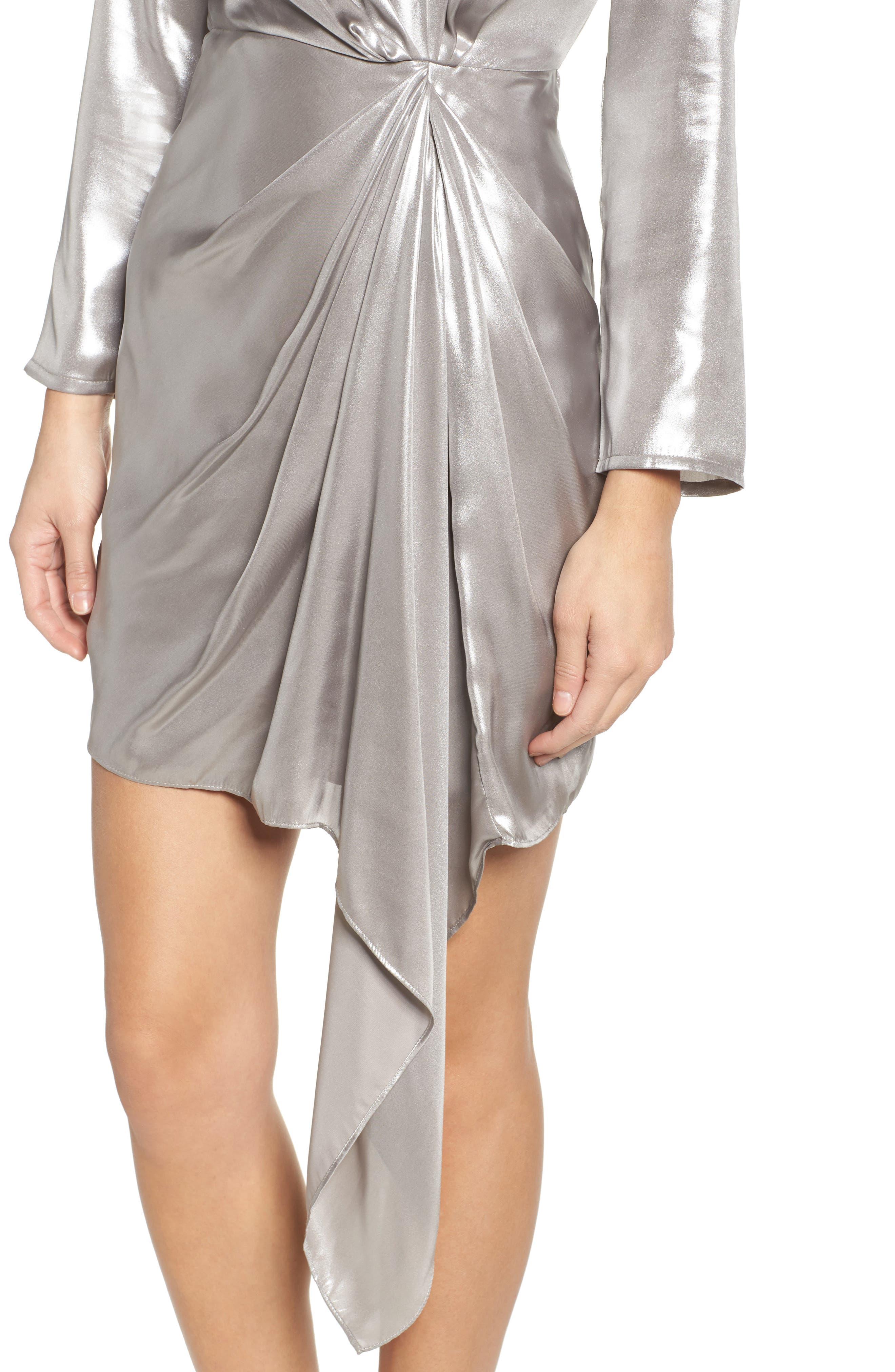 Shimmer Drape Front Dress,                             Alternate thumbnail 4, color,