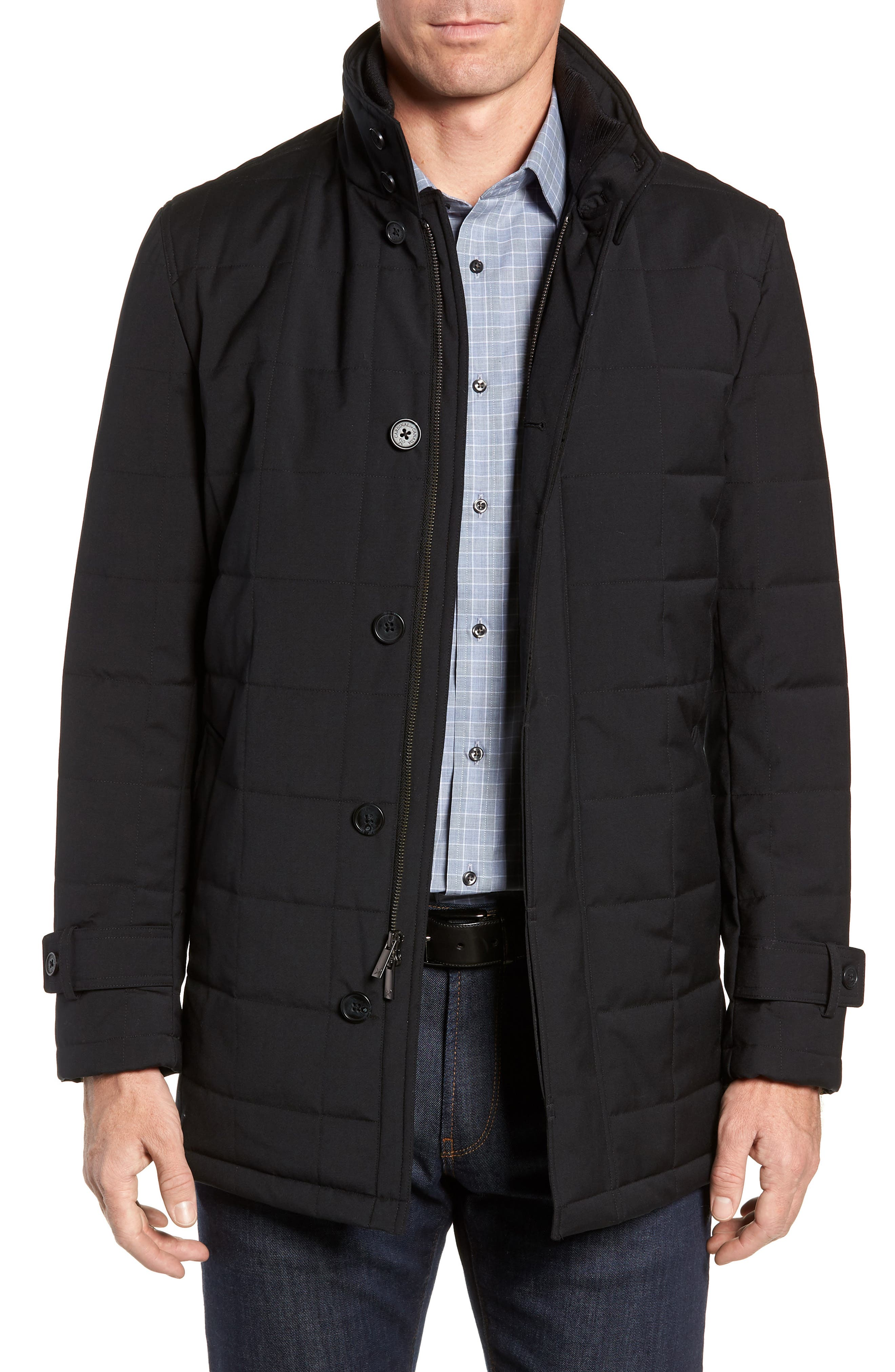 Quilted Car Coat,                         Main,                         color, BLACK
