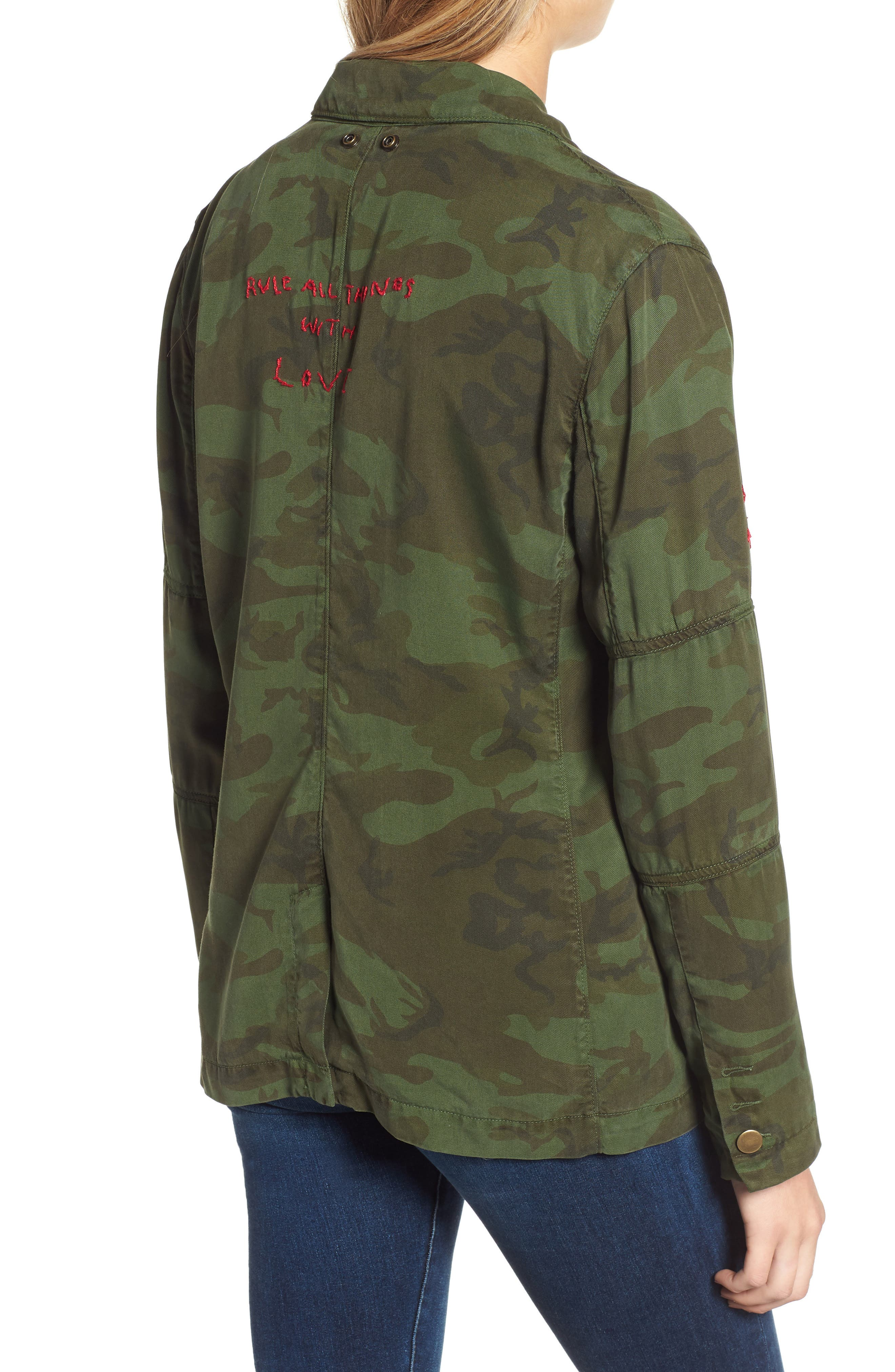 Contrast Cuff Camo Jacket,                             Alternate thumbnail 2, color,                             ARMY CAMO