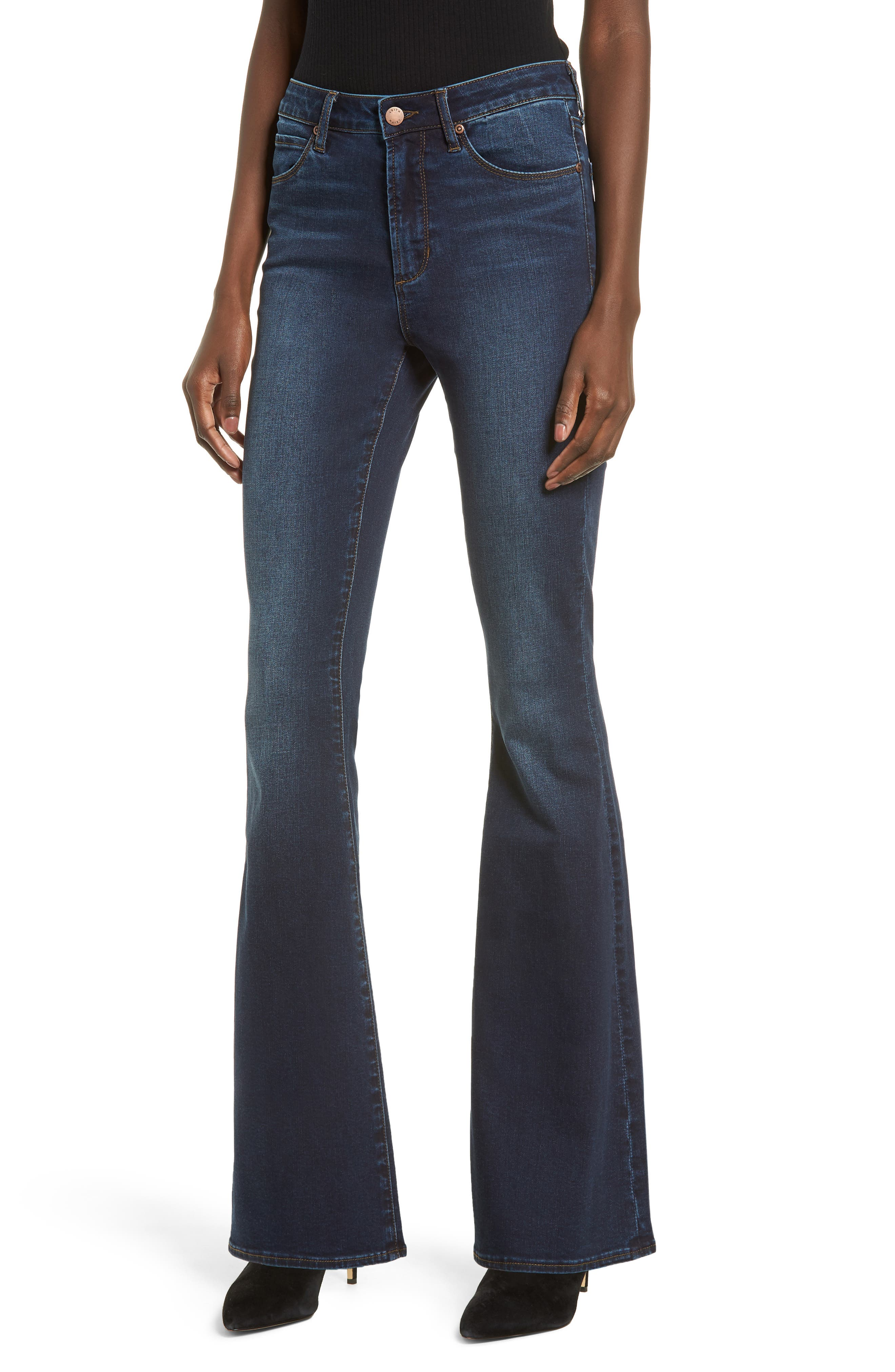 High Waist Flare Jeans, Main, color, MEDIUM WASH