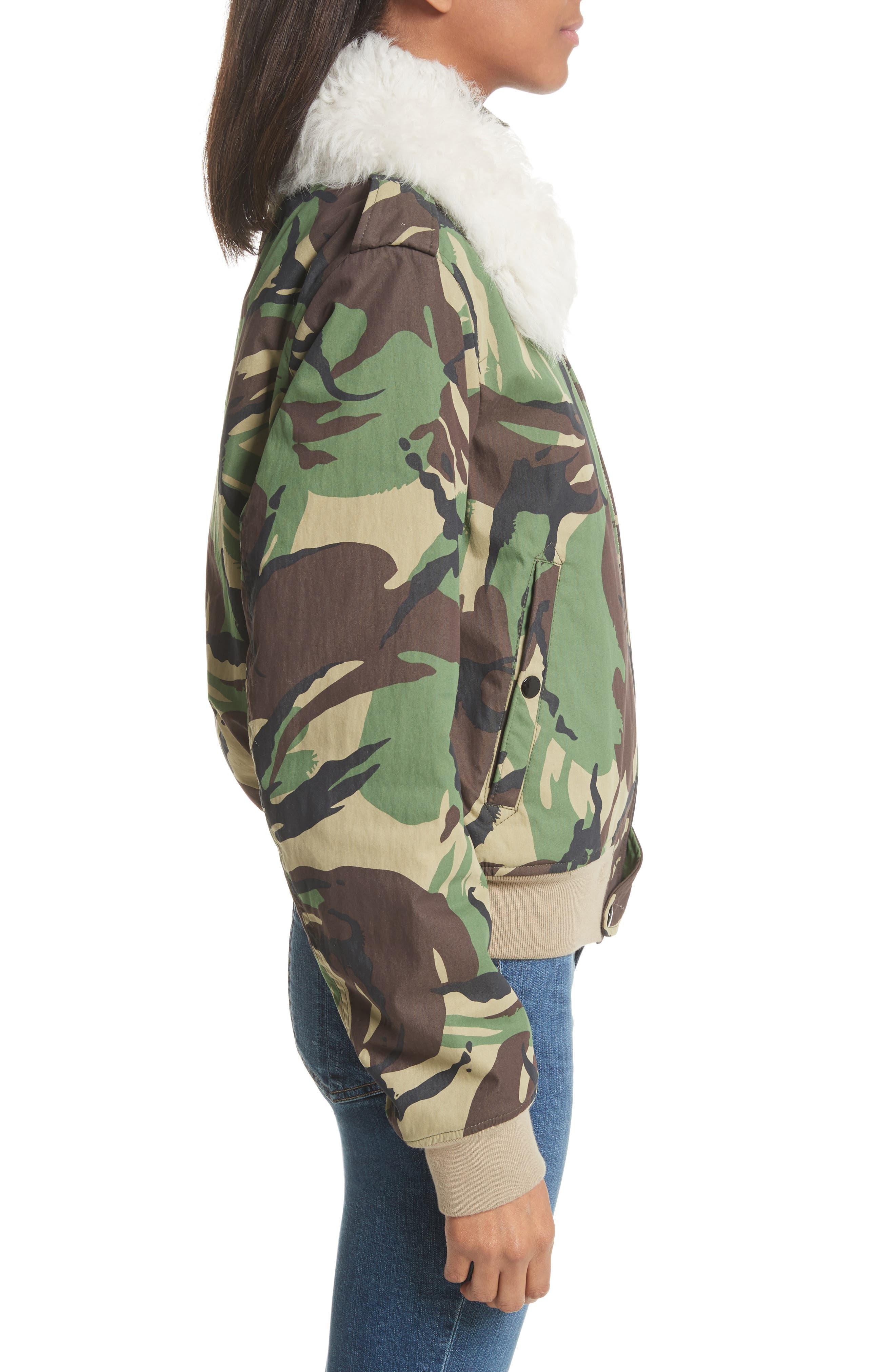 Camo Flight Jacket with Geniune Shearling Collar,                             Alternate thumbnail 4, color,                             300