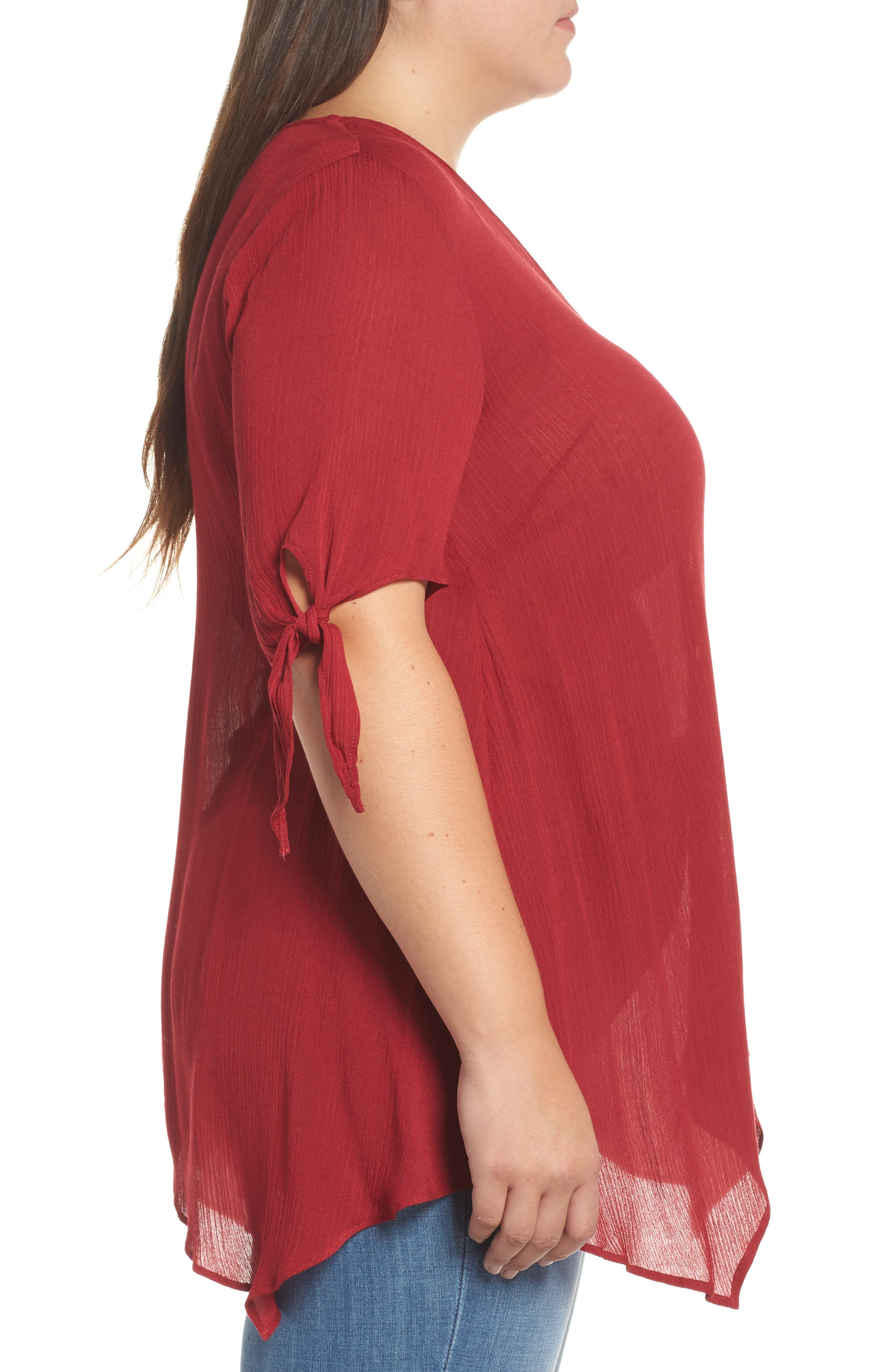 Tie Sleeve Button Front Tunic Top,                             Alternate thumbnail 3, color,                             MAROON