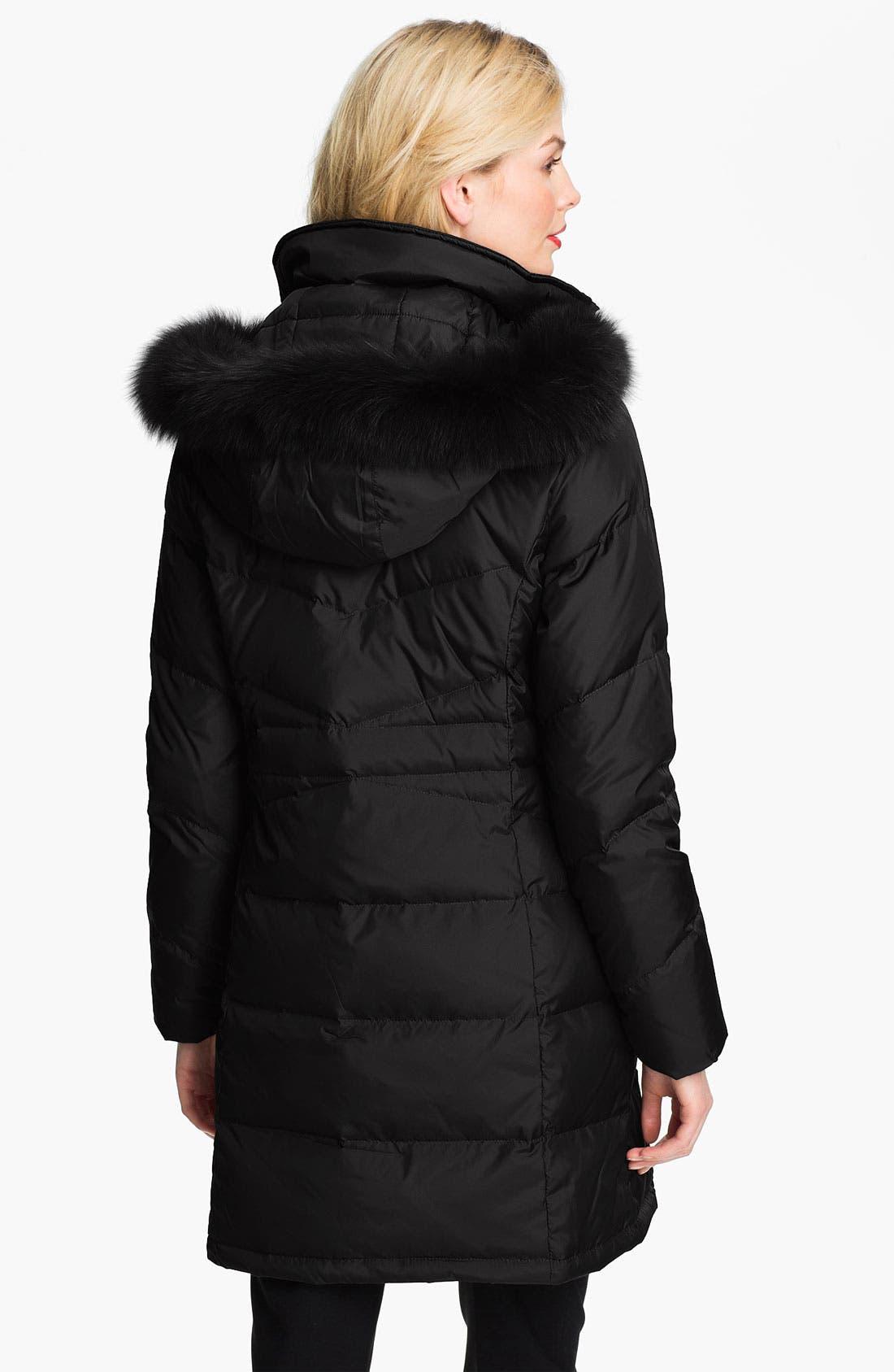ELLEN TRACY,                             Genuine Fox Fur Trim Down Coat,                             Alternate thumbnail 2, color,                             001