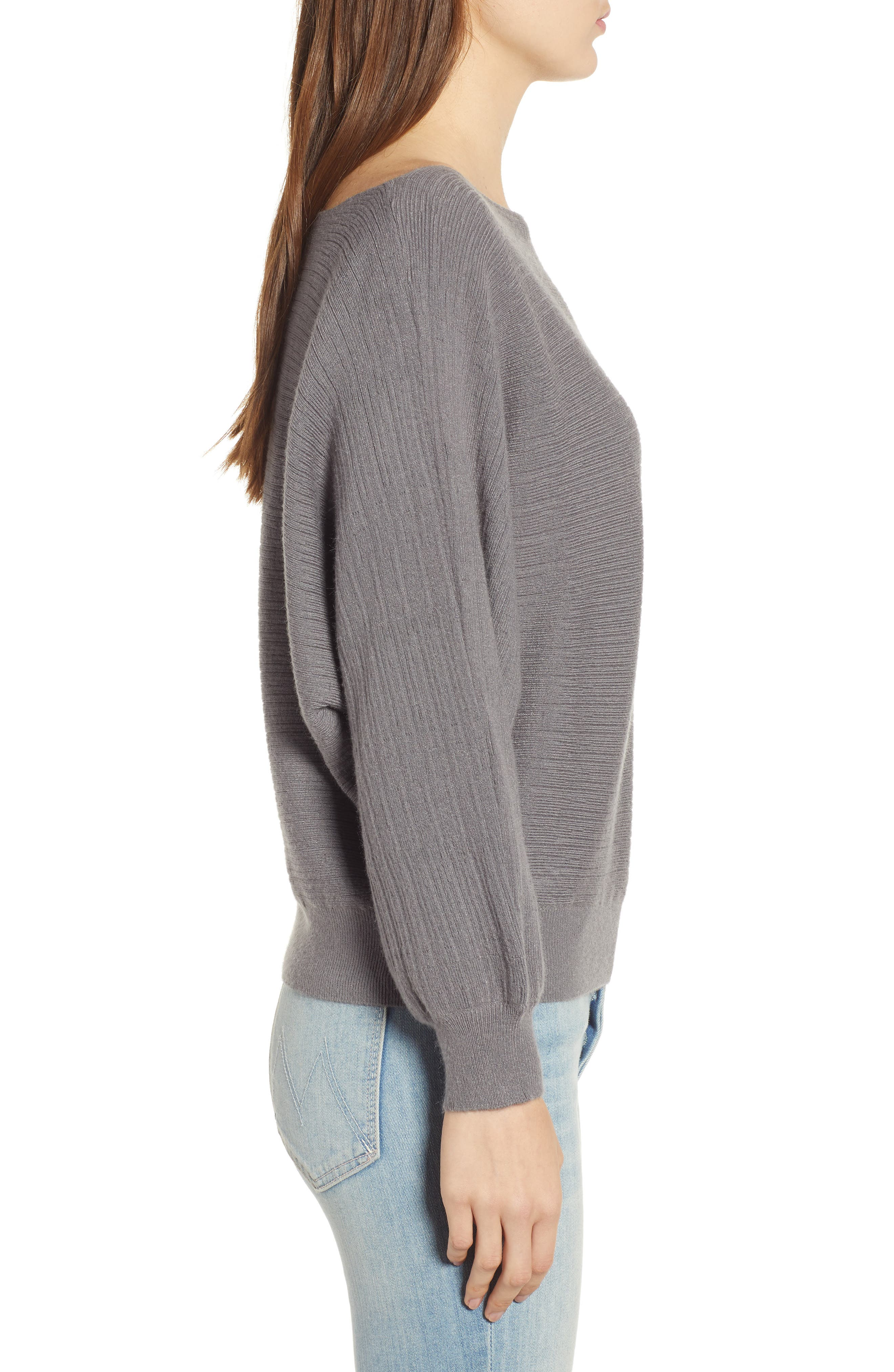 Dolman Boat Neck Sweater,                             Alternate thumbnail 3, color,                             STEEL GRAY