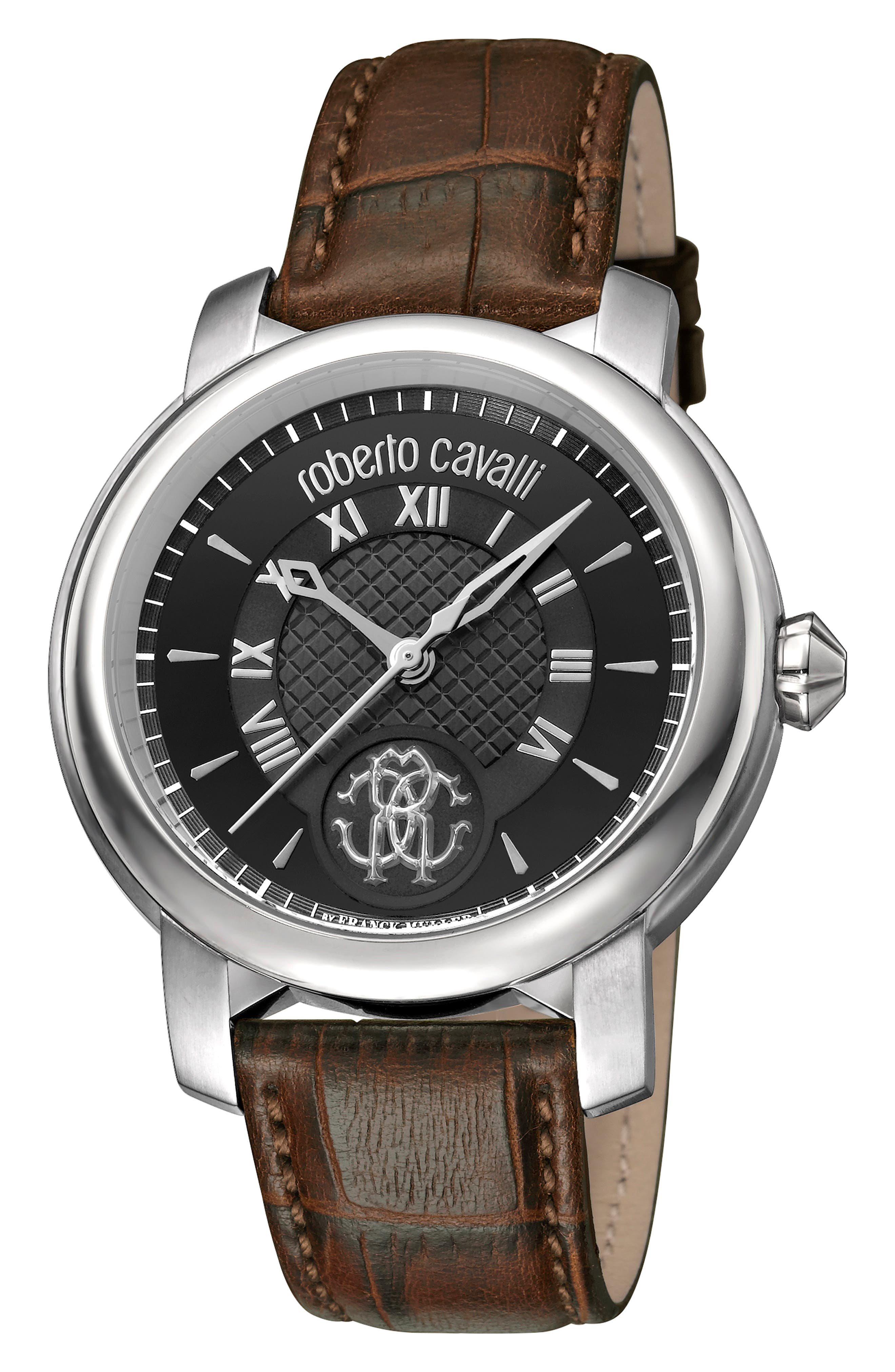 ROBERTO CAVALLI BY FRANCK MULLER Rotondo Leather Strap Watch, 43Mm in Black