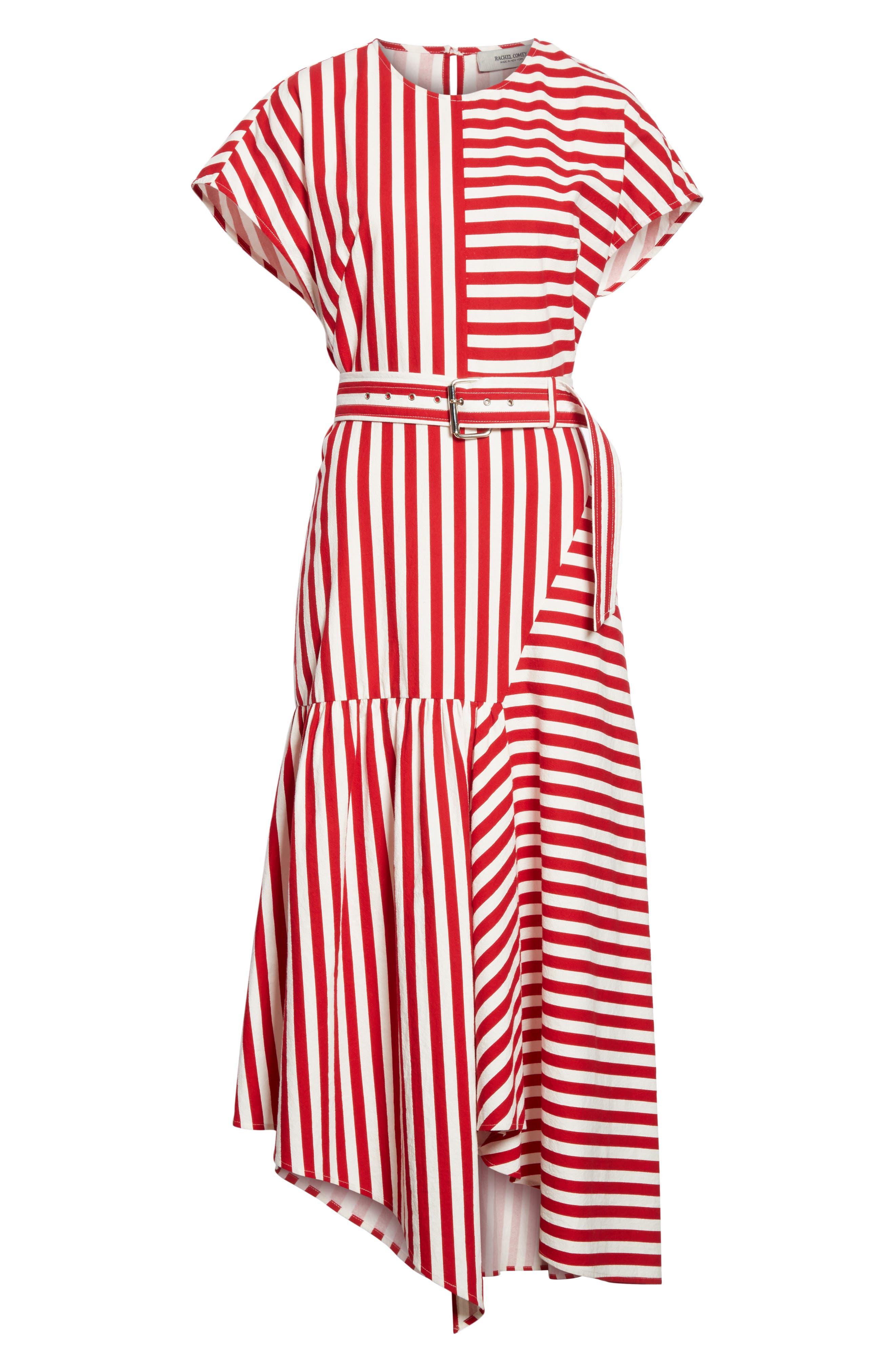 Steady Asymmetrical Dress,                             Alternate thumbnail 6, color,                             RED