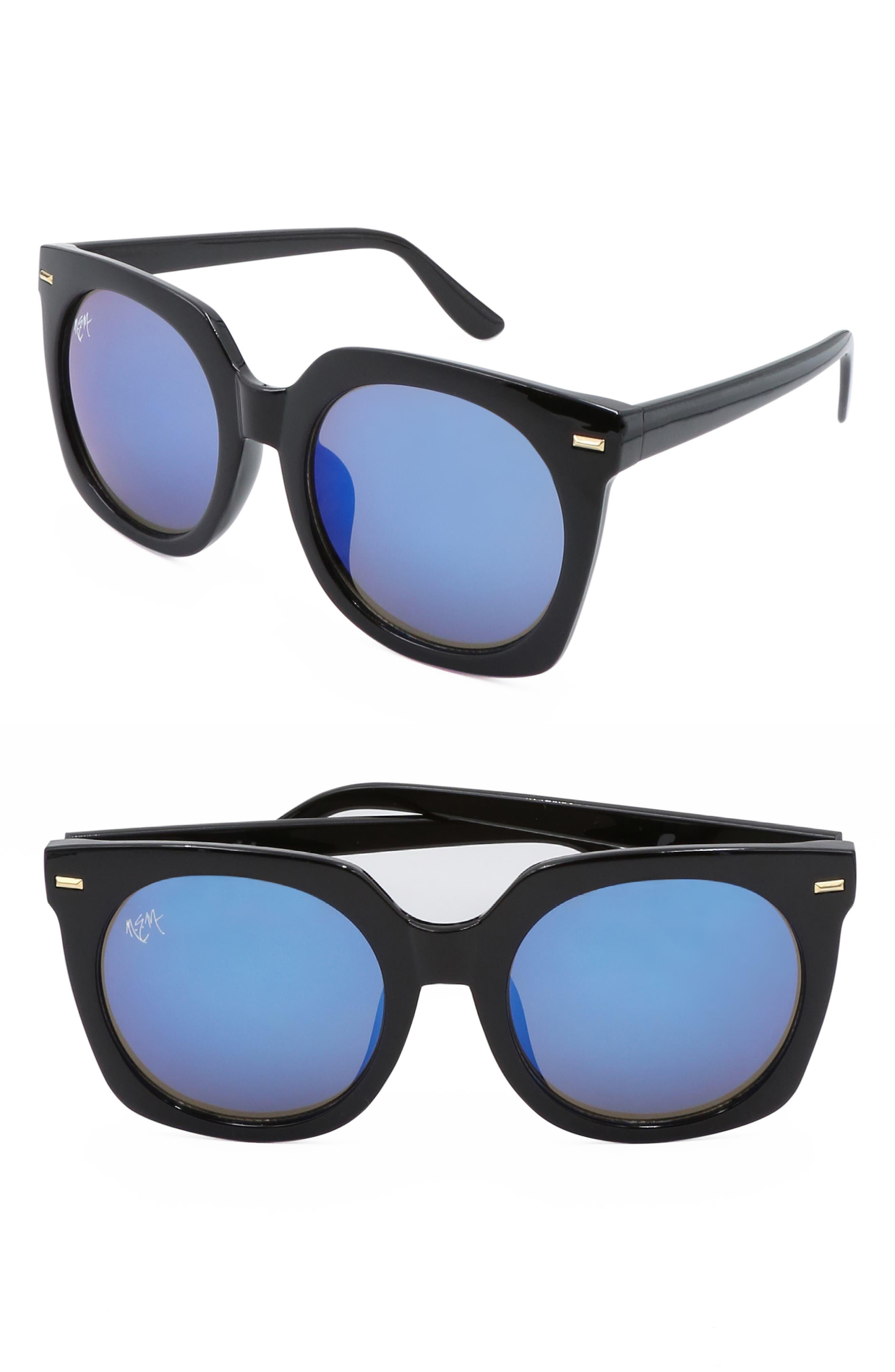 Nem Melrose 55Mm Square Sunglasses - Black W Dark Blue Mirror
