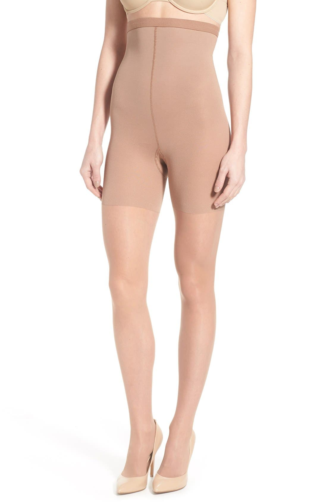 Seamed Stockings, Nylons, Tights Womens Spanx Luxe High Waist Shaping Pantyhose Size E - Beige $19.20 AT vintagedancer.com