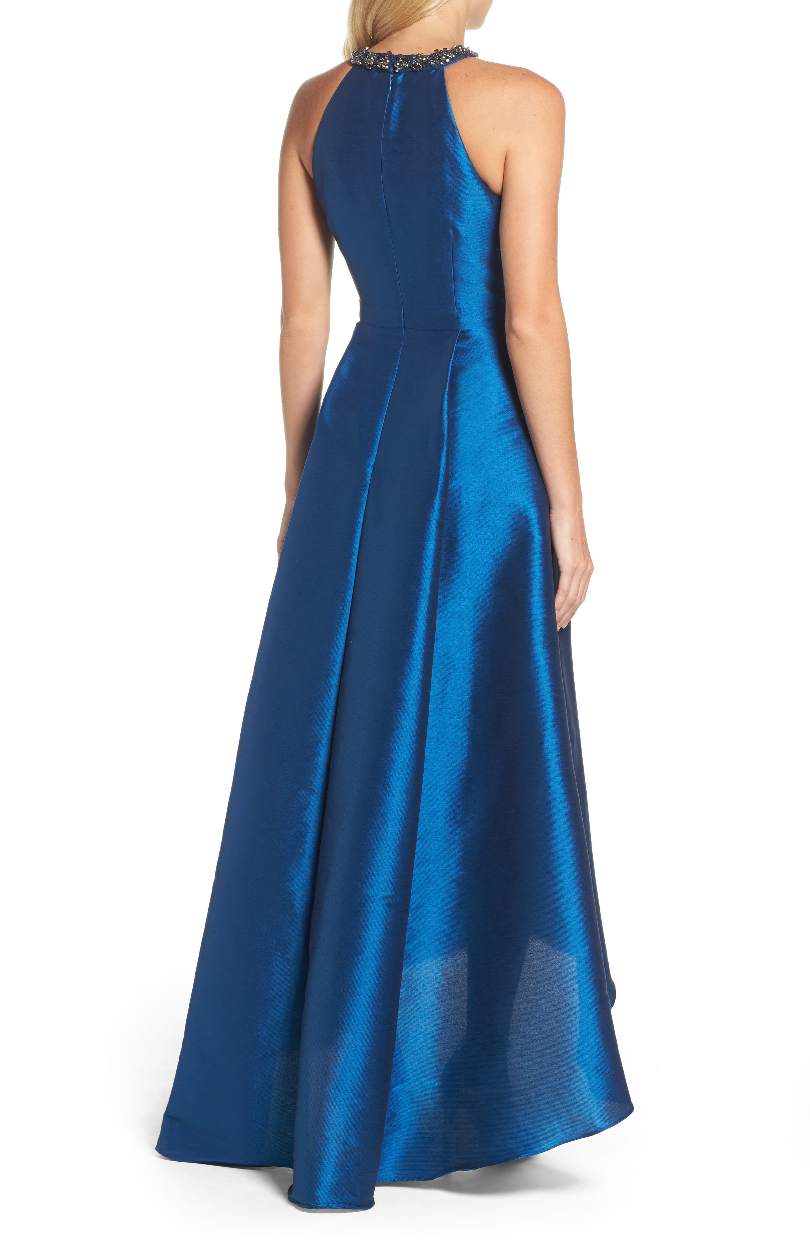 Beaded Neck Faille Gown,                             Alternate thumbnail 2, color,                             473
