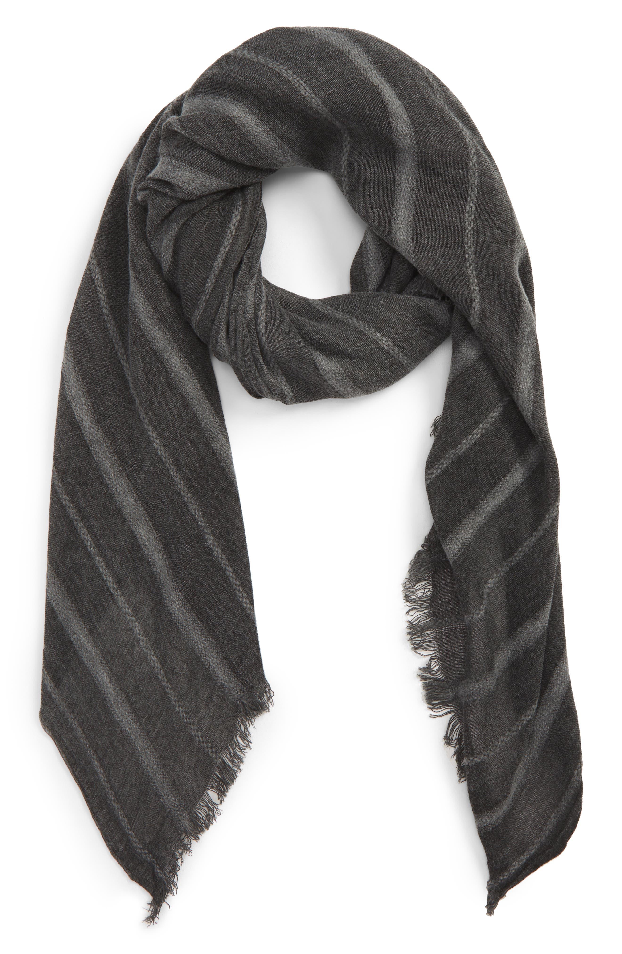 TREASURE & BOND,                             Solid Ribbed Wrap Scarf,                             Alternate thumbnail 2, color,                             BLACK