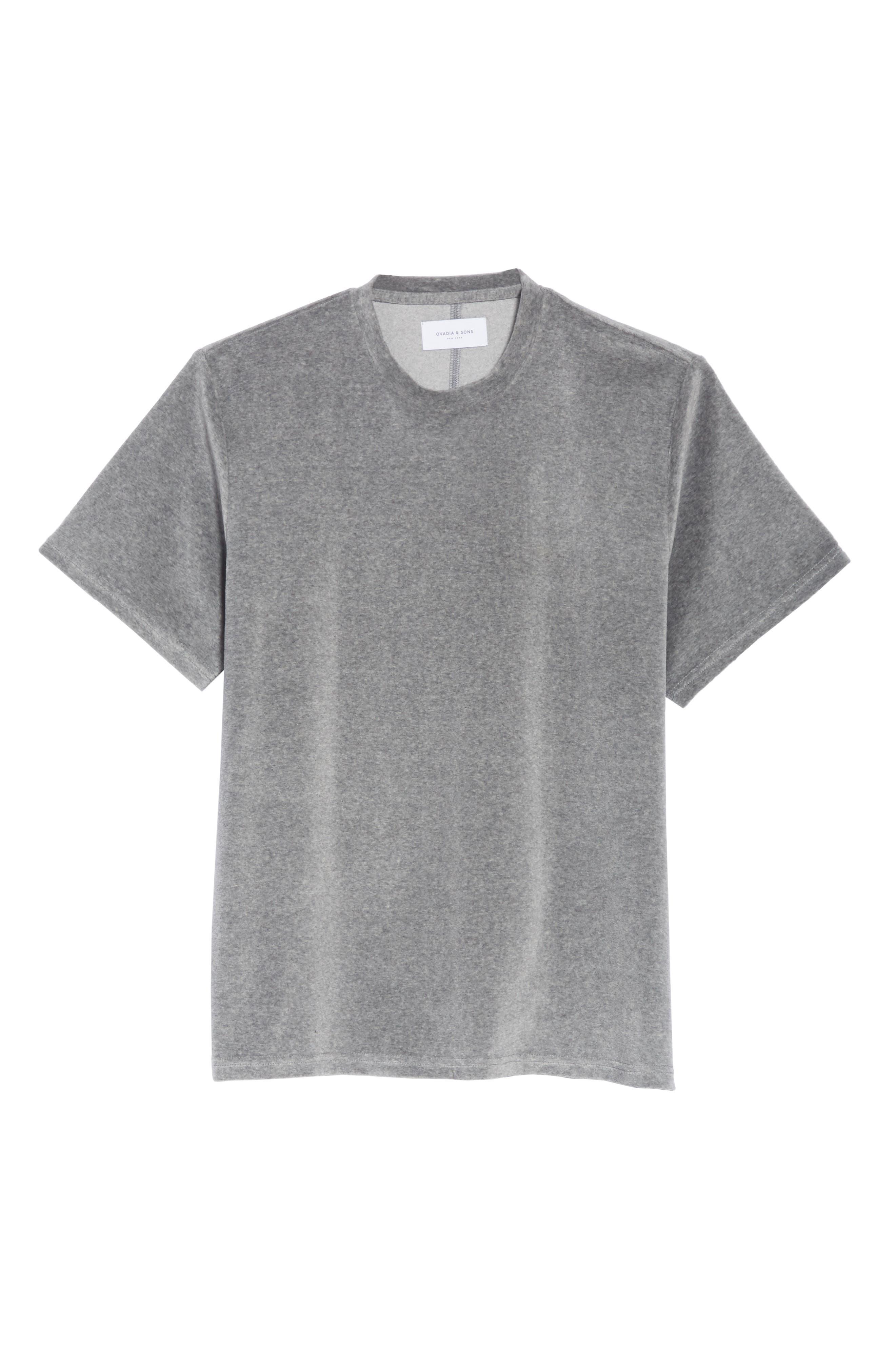 Velour T-Shirt,                             Alternate thumbnail 6, color,                             HEATHER GREY
