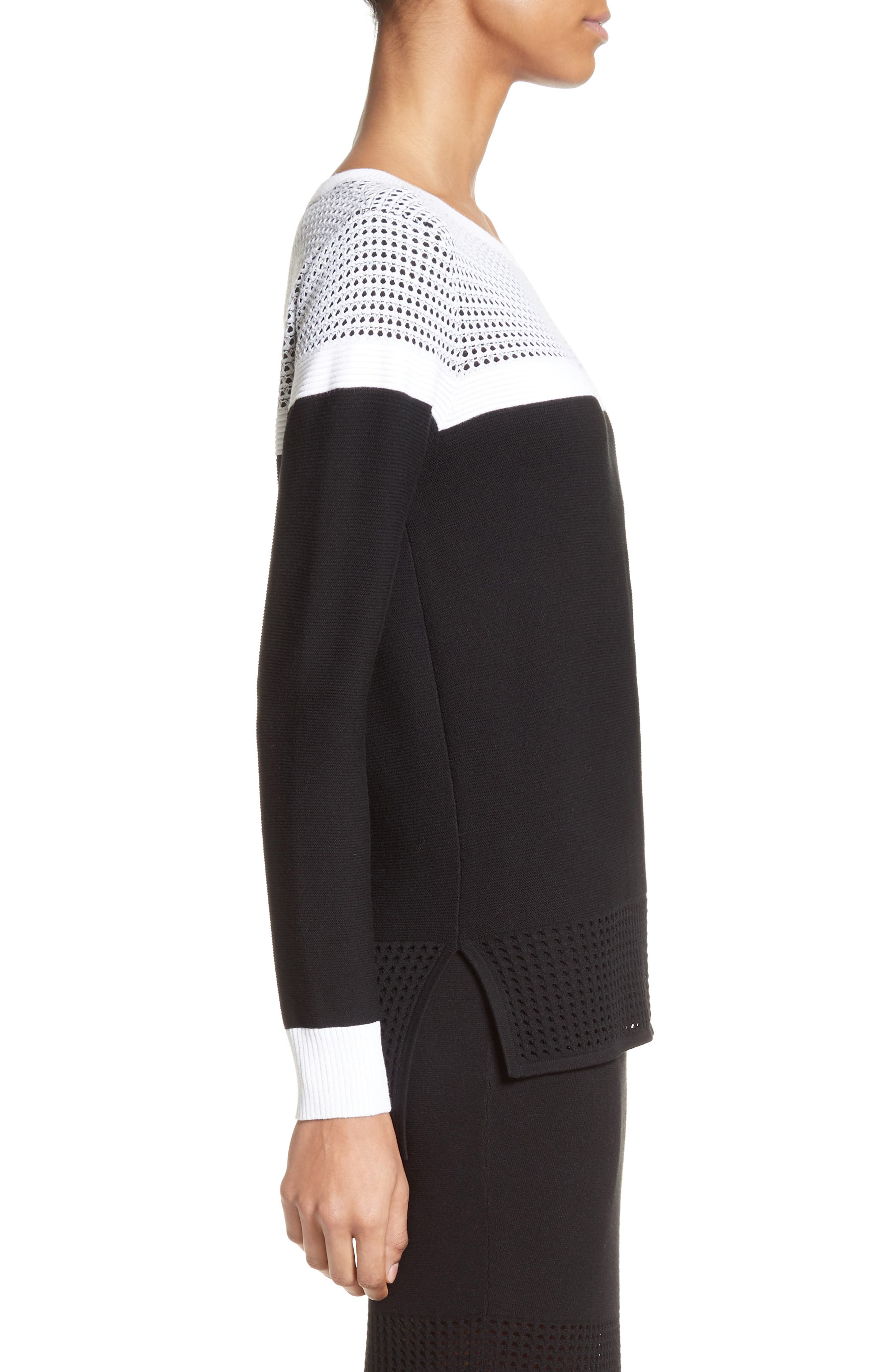 Technical Mesh Stitch Sweater,                             Alternate thumbnail 3, color,                             001