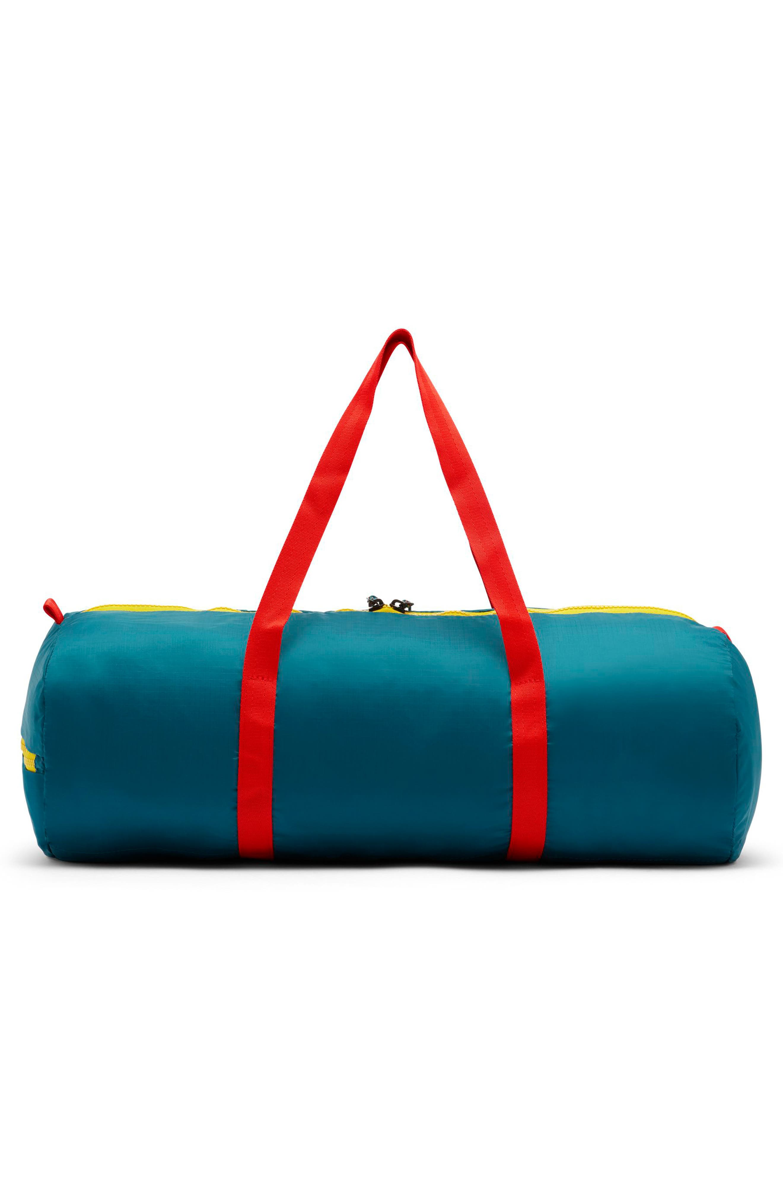 Packable Duffel Bag,                             Alternate thumbnail 2, color,                             GEODE TEAL/ HABANERO RED