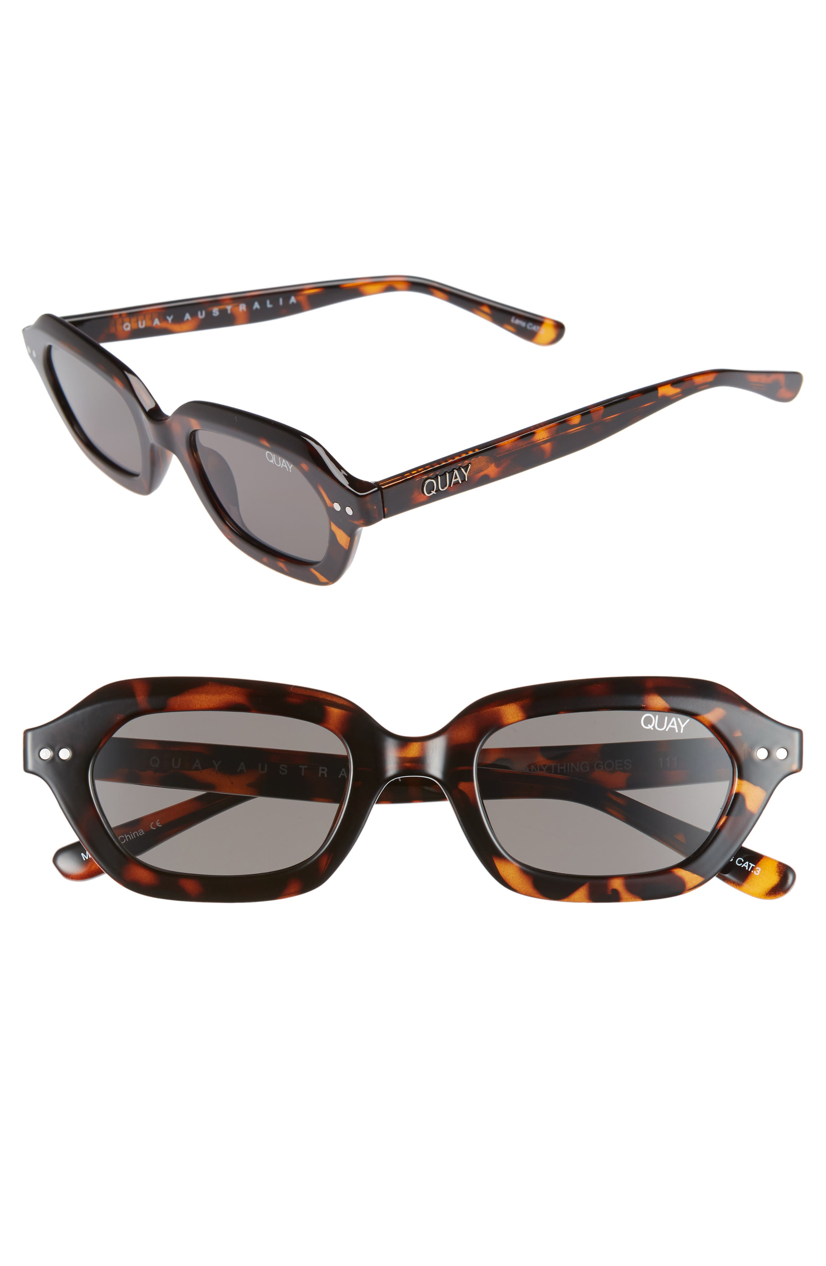 x Finders Keepers Anything Goes 49mm Square Sunglasses,                         Main,                         color, TORTOISE/ SMOKE