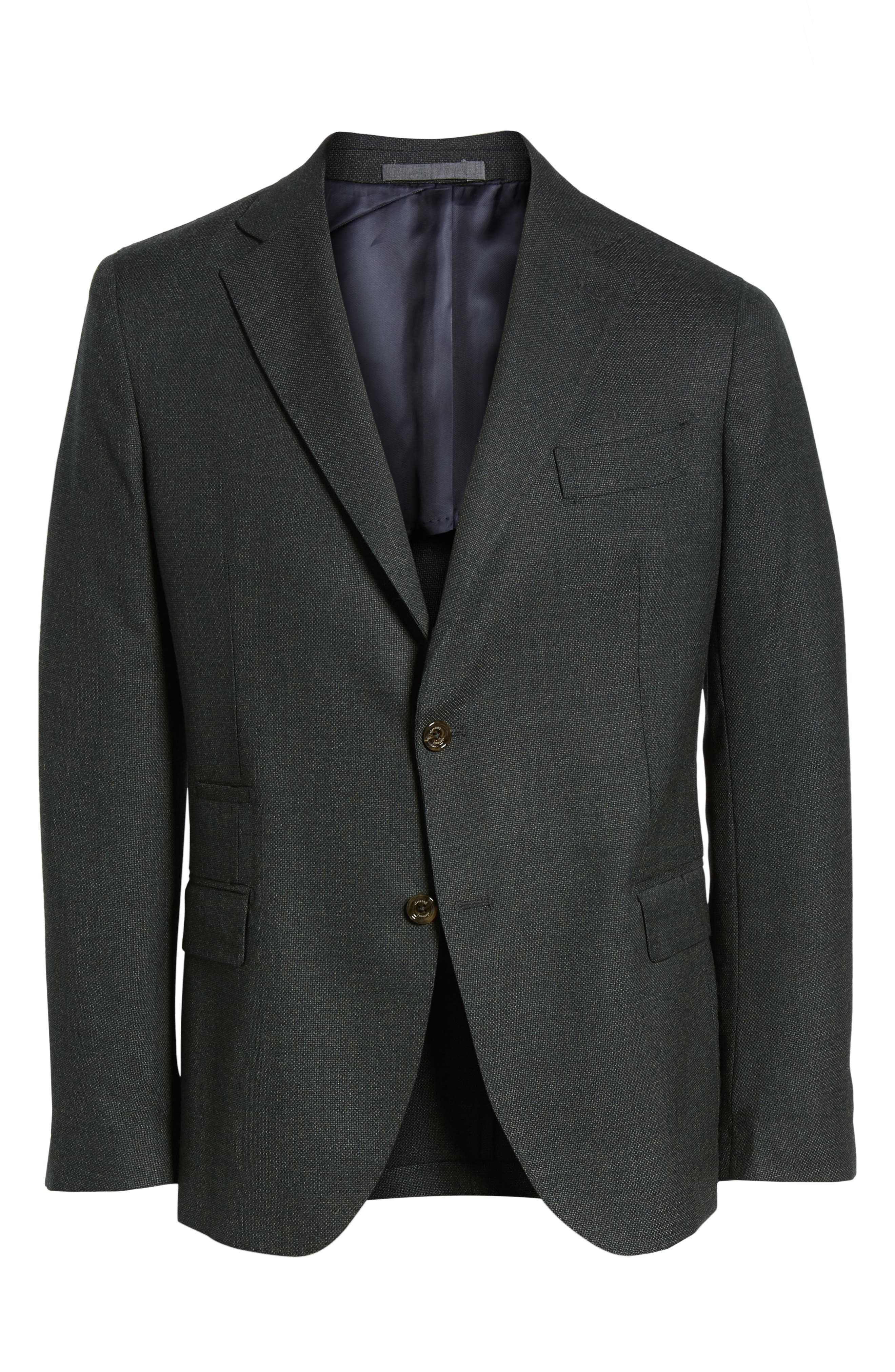 Trim Fit Wool Blazer,                             Alternate thumbnail 5, color,                             GREEN
