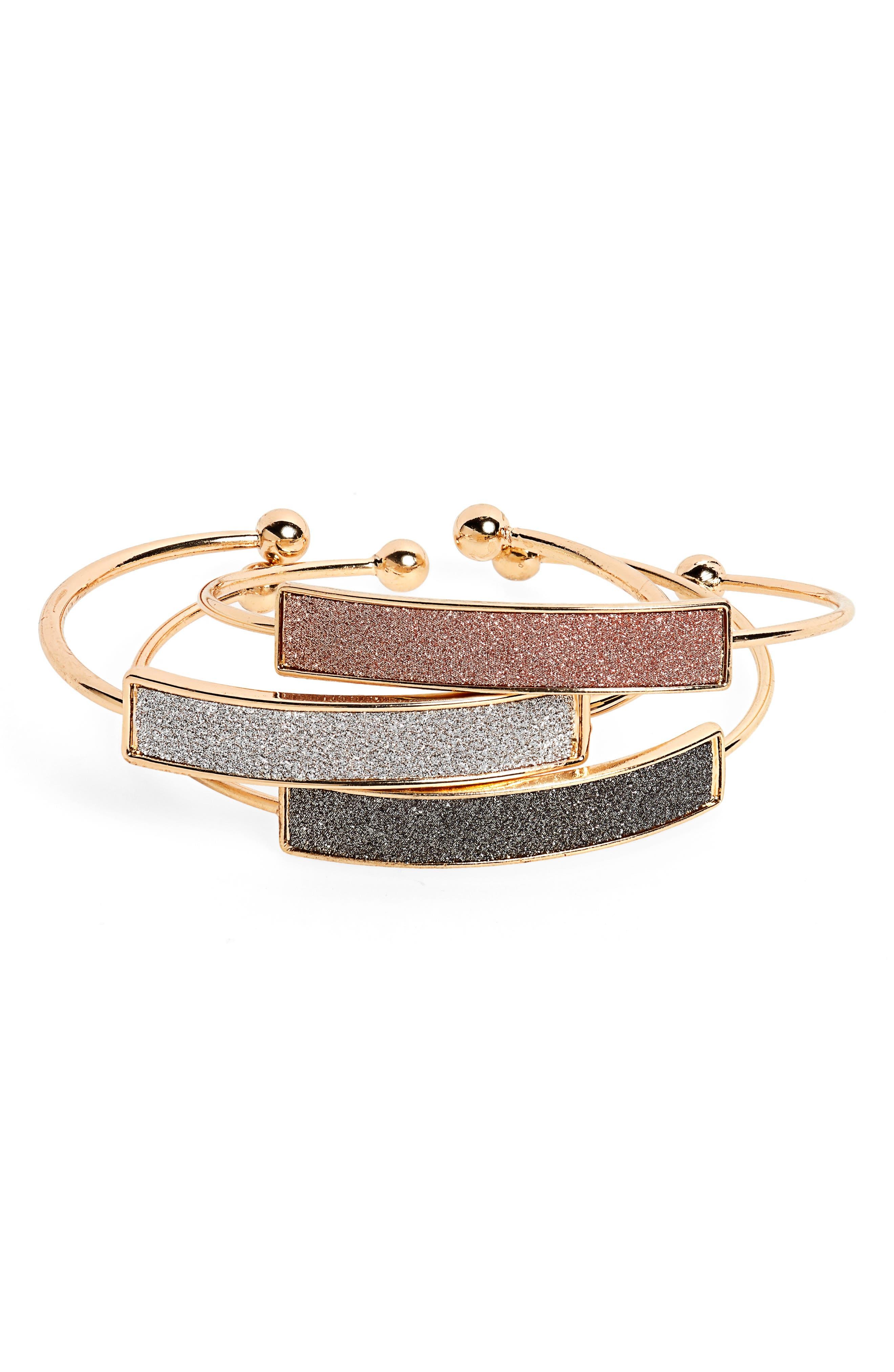 PANACEA Set Of 3 Cuff Bracelets in Gold/ Multi