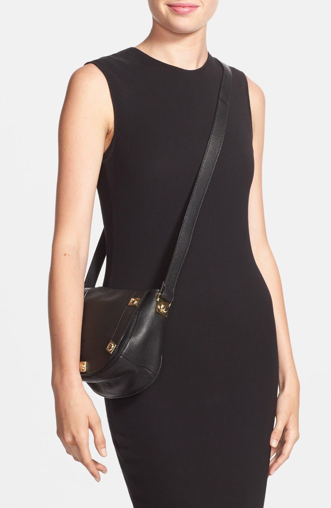 'Mini Sadie' Leather Crossbody Bag,                             Alternate thumbnail 2, color,                             001