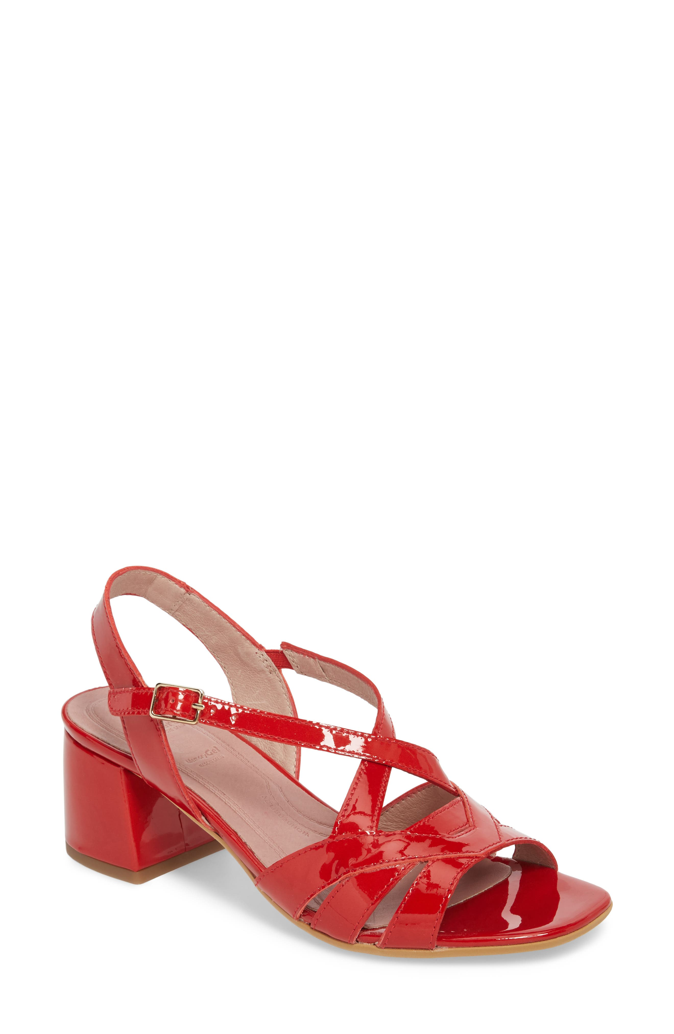 Vintage Style Shoes, Vintage Inspired Shoes Womens Wonders Block Heel Sandal Size 9.5-10US  41EU - Red $199.95 AT vintagedancer.com