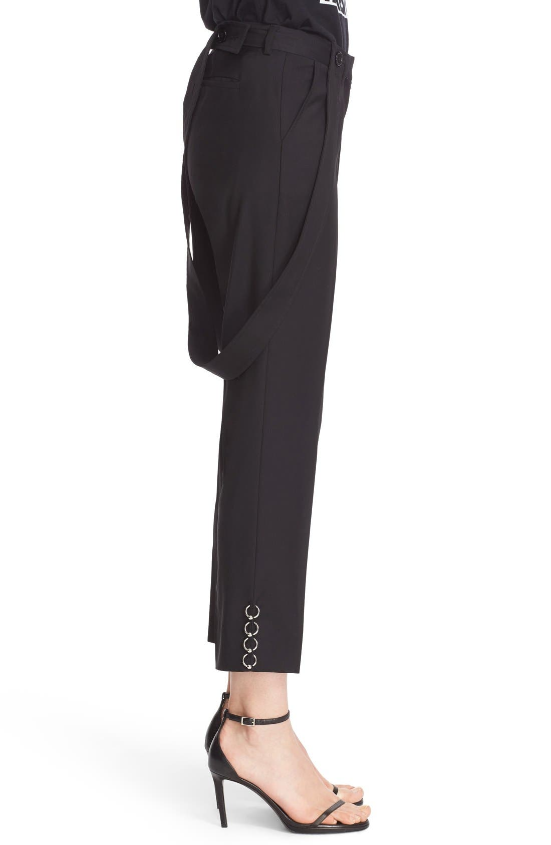 ASHLEY WILLIAMS,                             'Piercing' Wool Ankle Pants with Detachable Suspenders,                             Alternate thumbnail 3, color,                             001