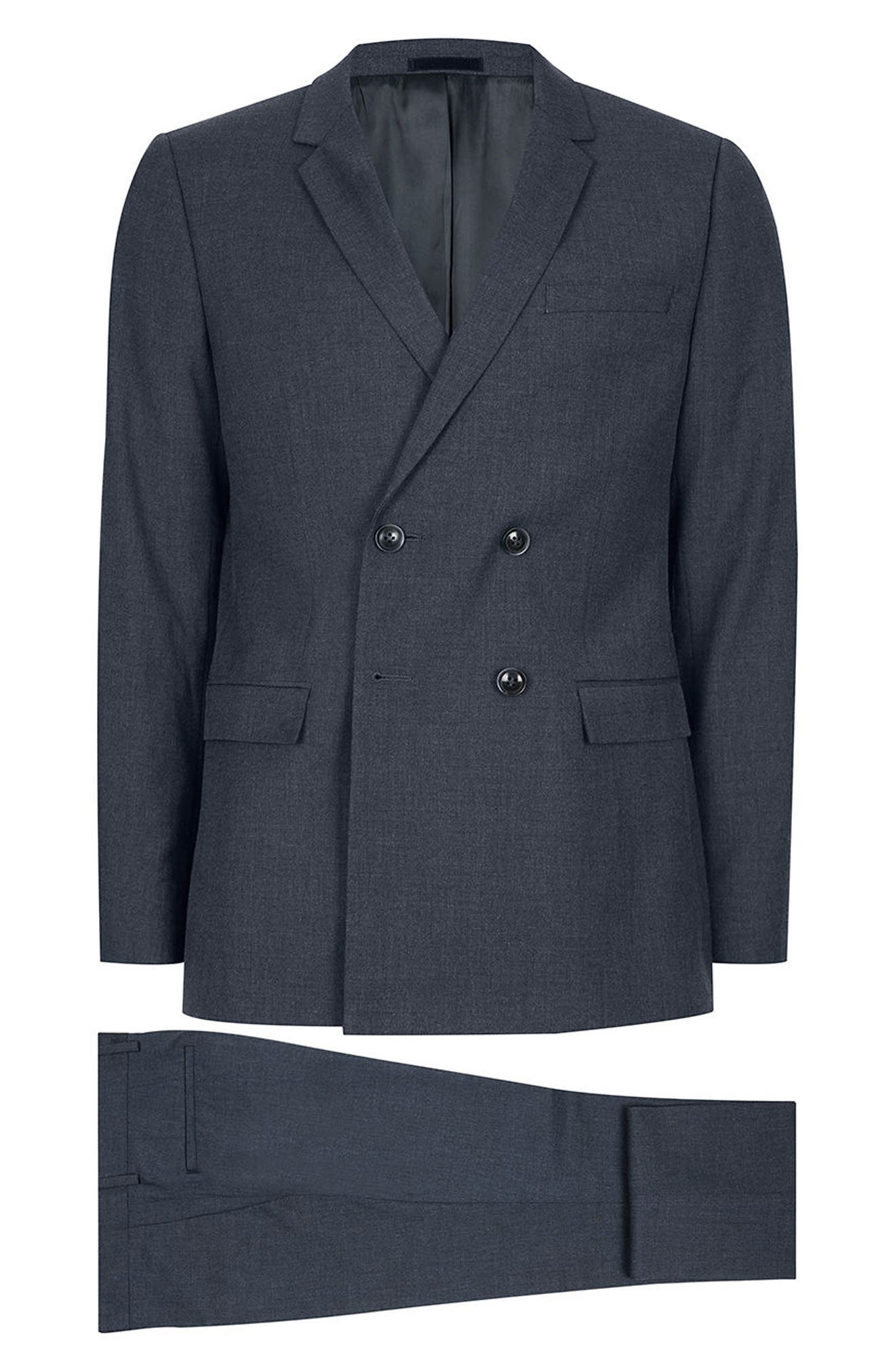 Skinny Fit Double Breasted Suit Jacket,                             Alternate thumbnail 7, color,                             410