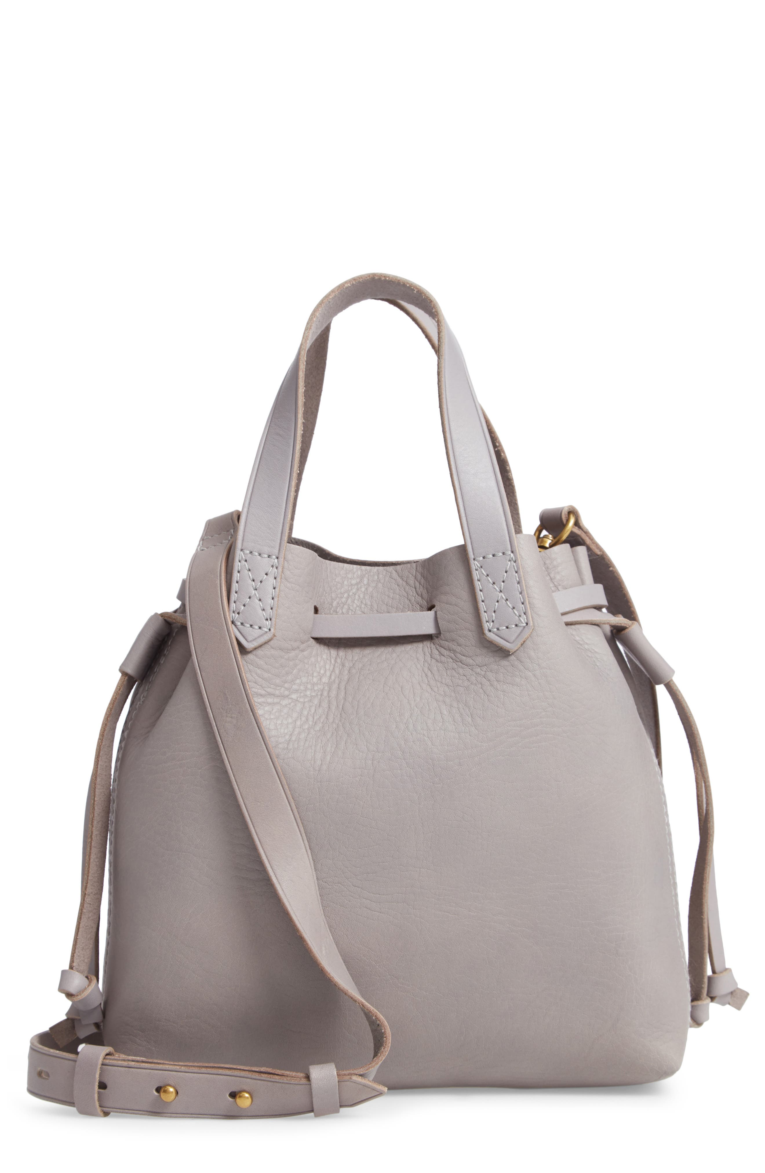 The Mini Pocket Transport Leather Drawstring Tote,                         Main,                         color, STONEWALL