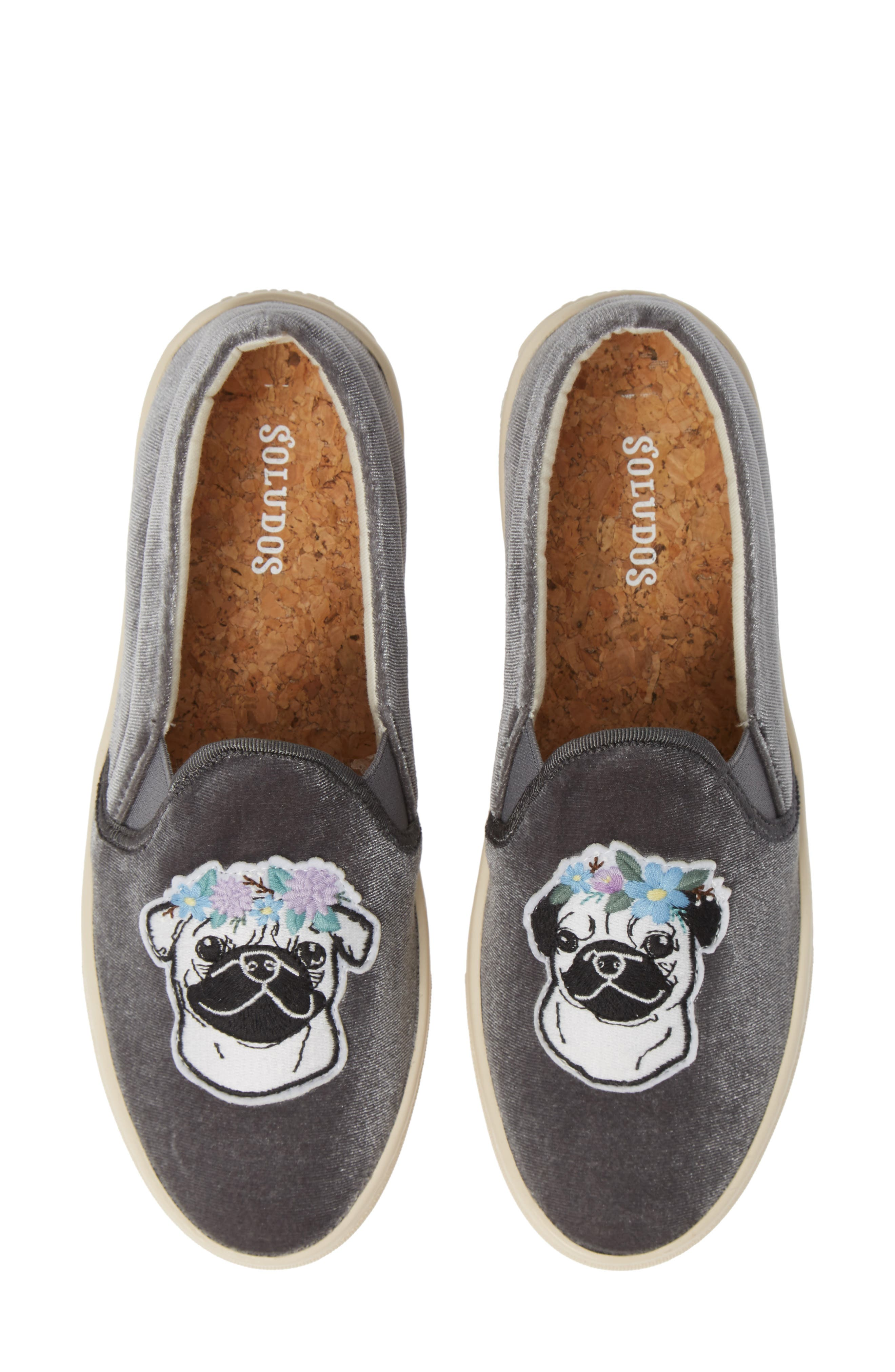 Flower Pug Applique Slip-On Sneaker in Grey