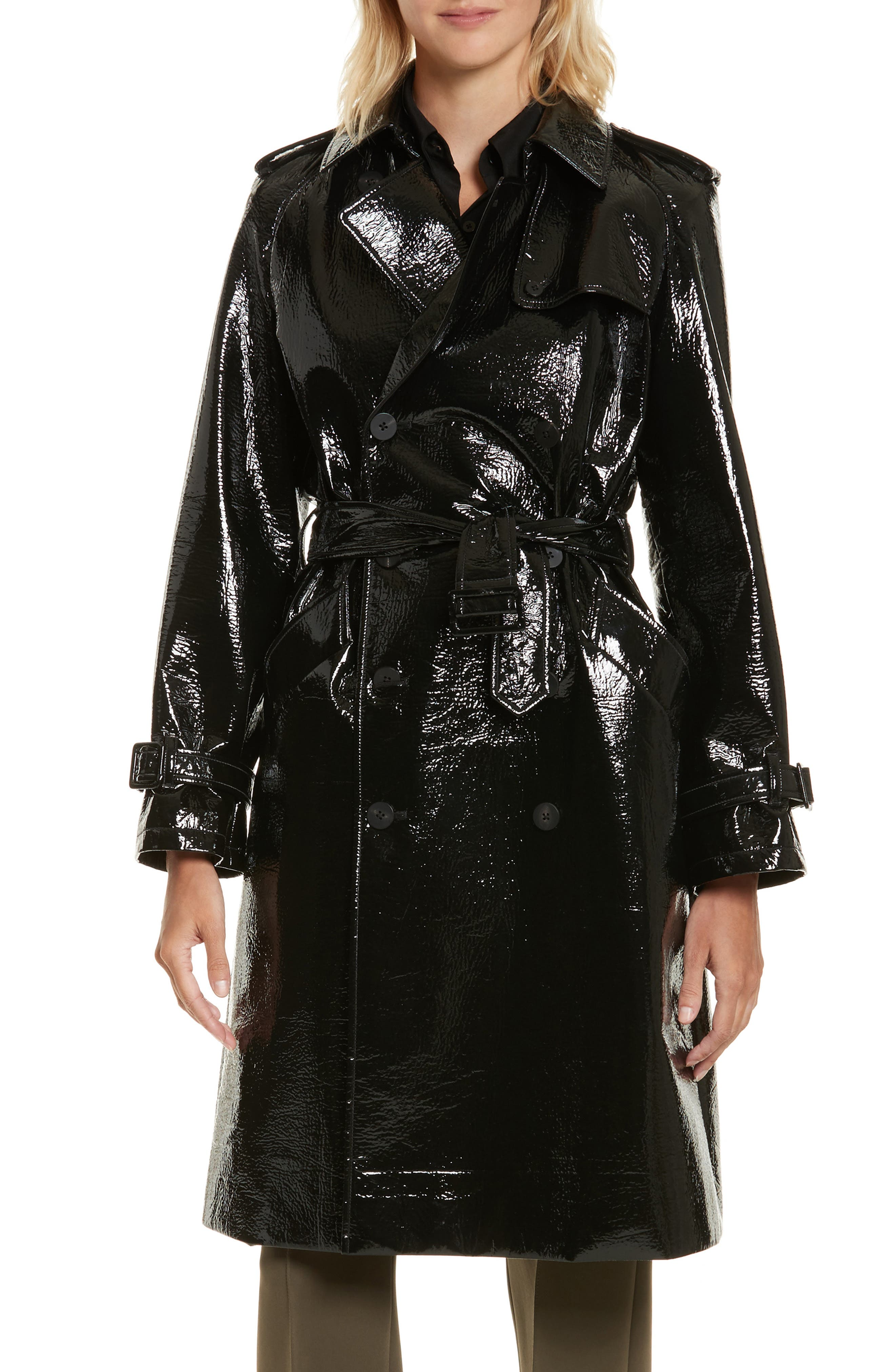 Patent Trench Coat,                         Main,                         color, 001