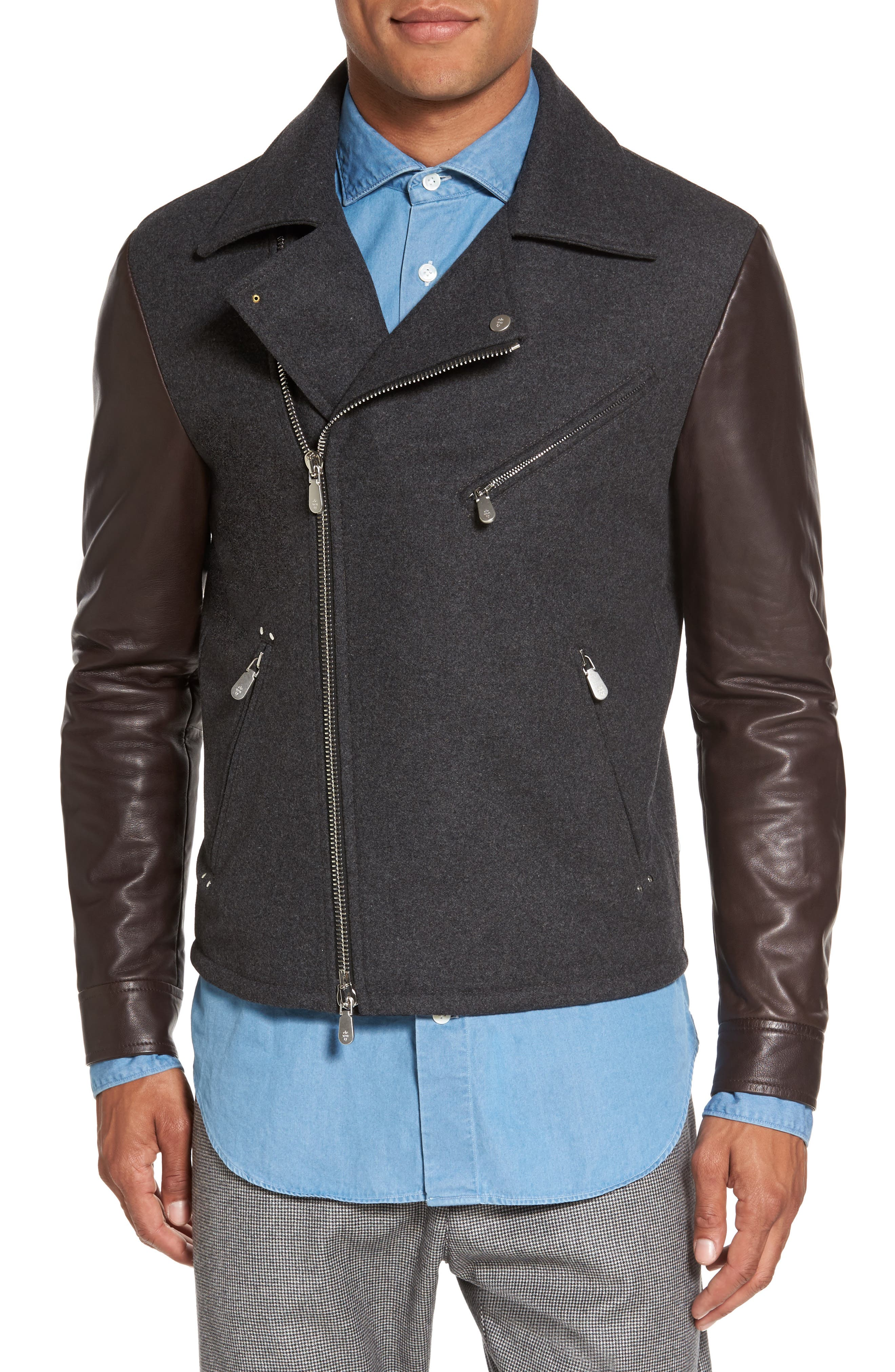 Leather & Flannel Moto Jacket,                             Alternate thumbnail 4, color,                             020