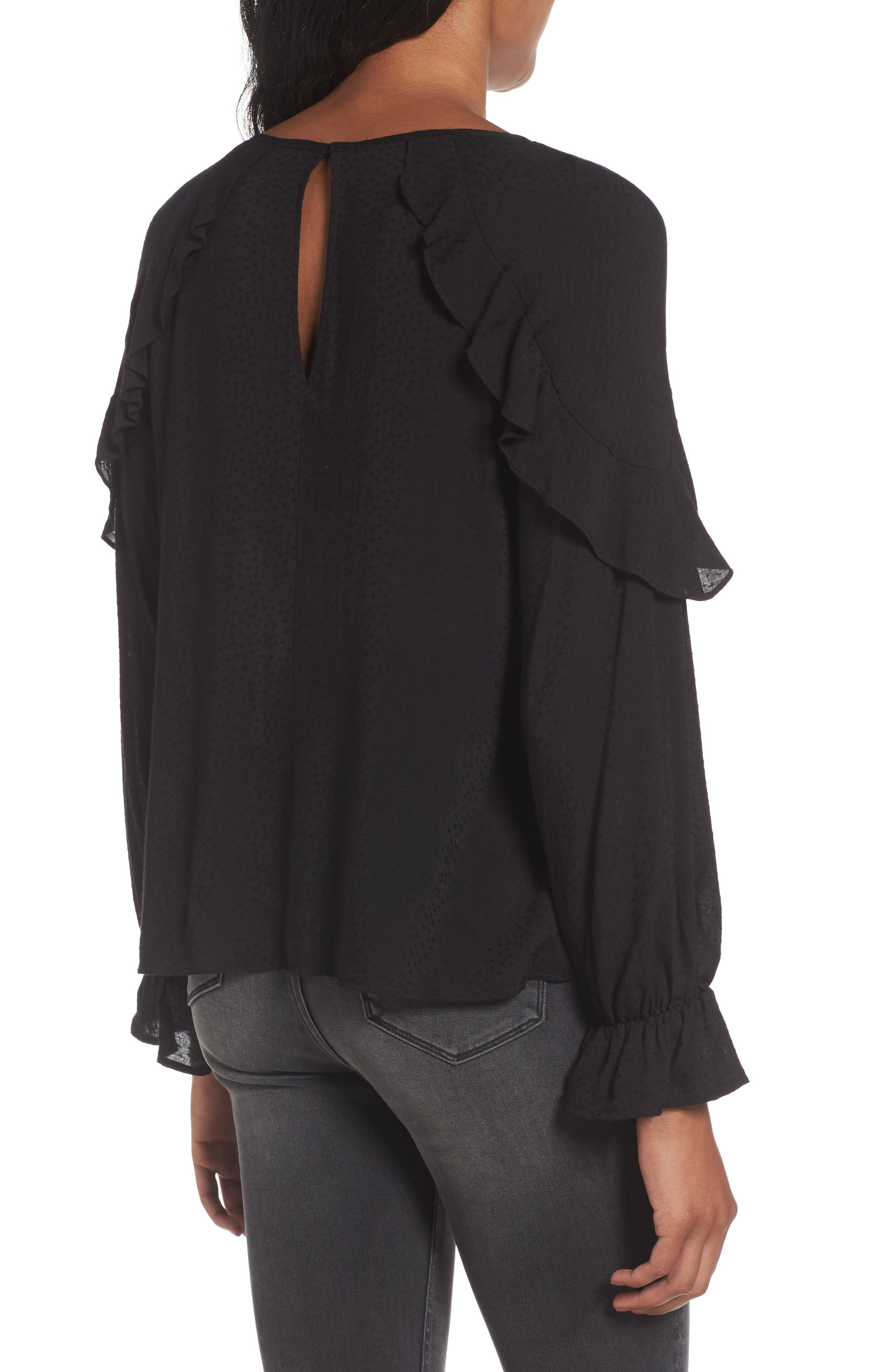 Textured Ruffle Blouse,                             Alternate thumbnail 2, color,                             001