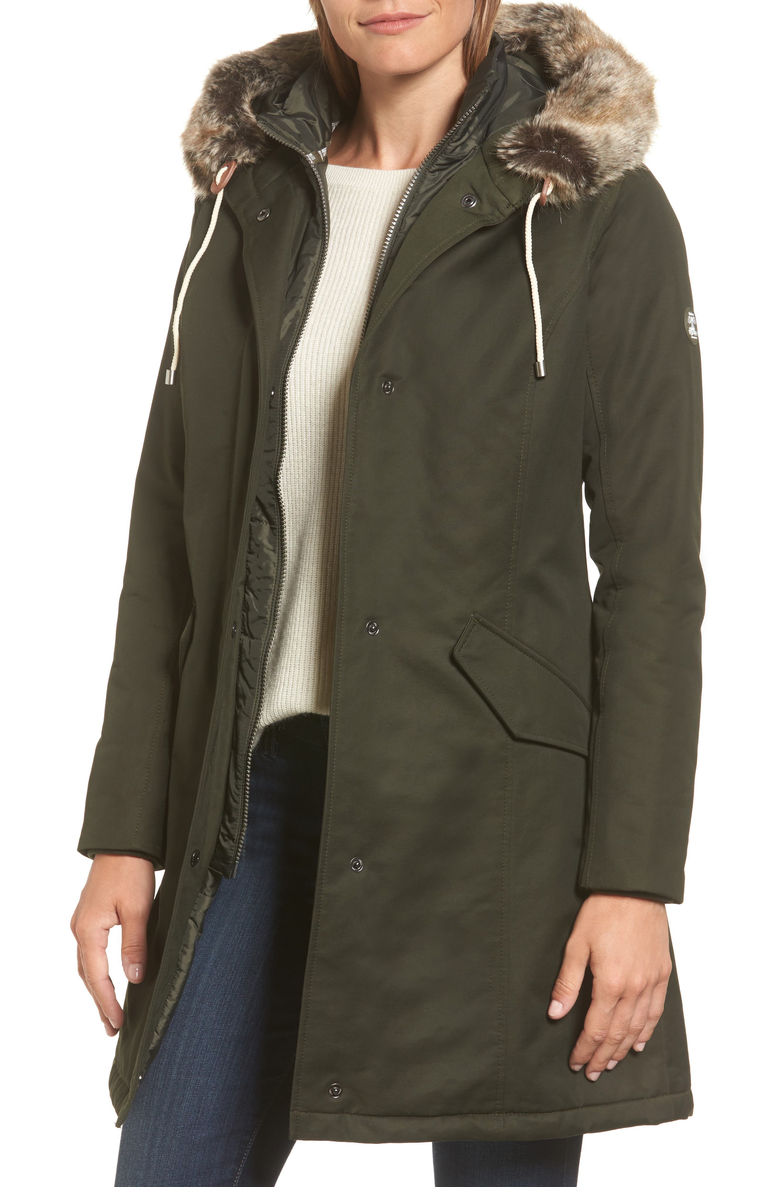 Filey Waterproof Hooded Jacket with Faux Fur Trim, Main, color, 302