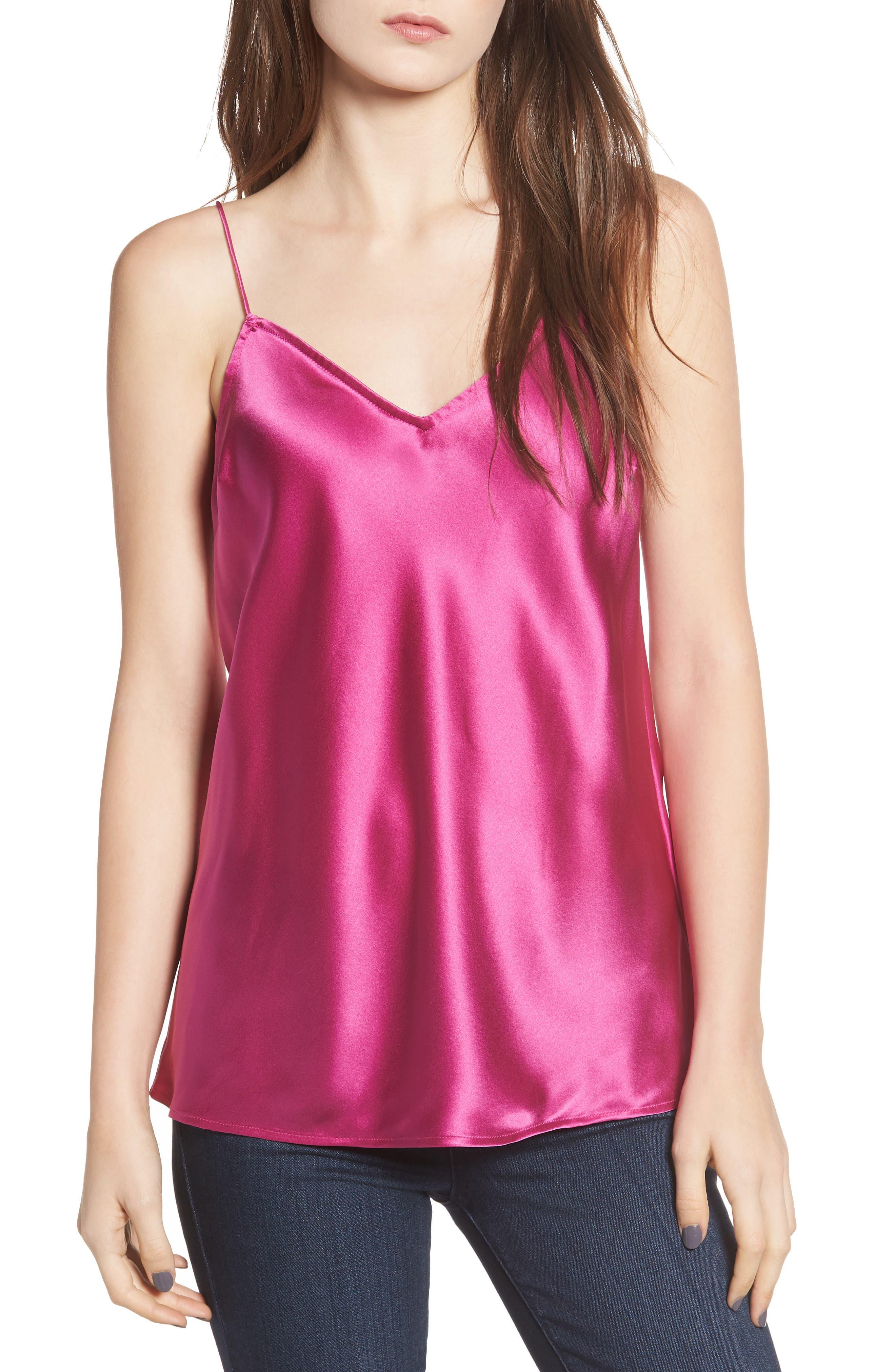 Cicely V-Neck Silk Camisole Top in Magenta