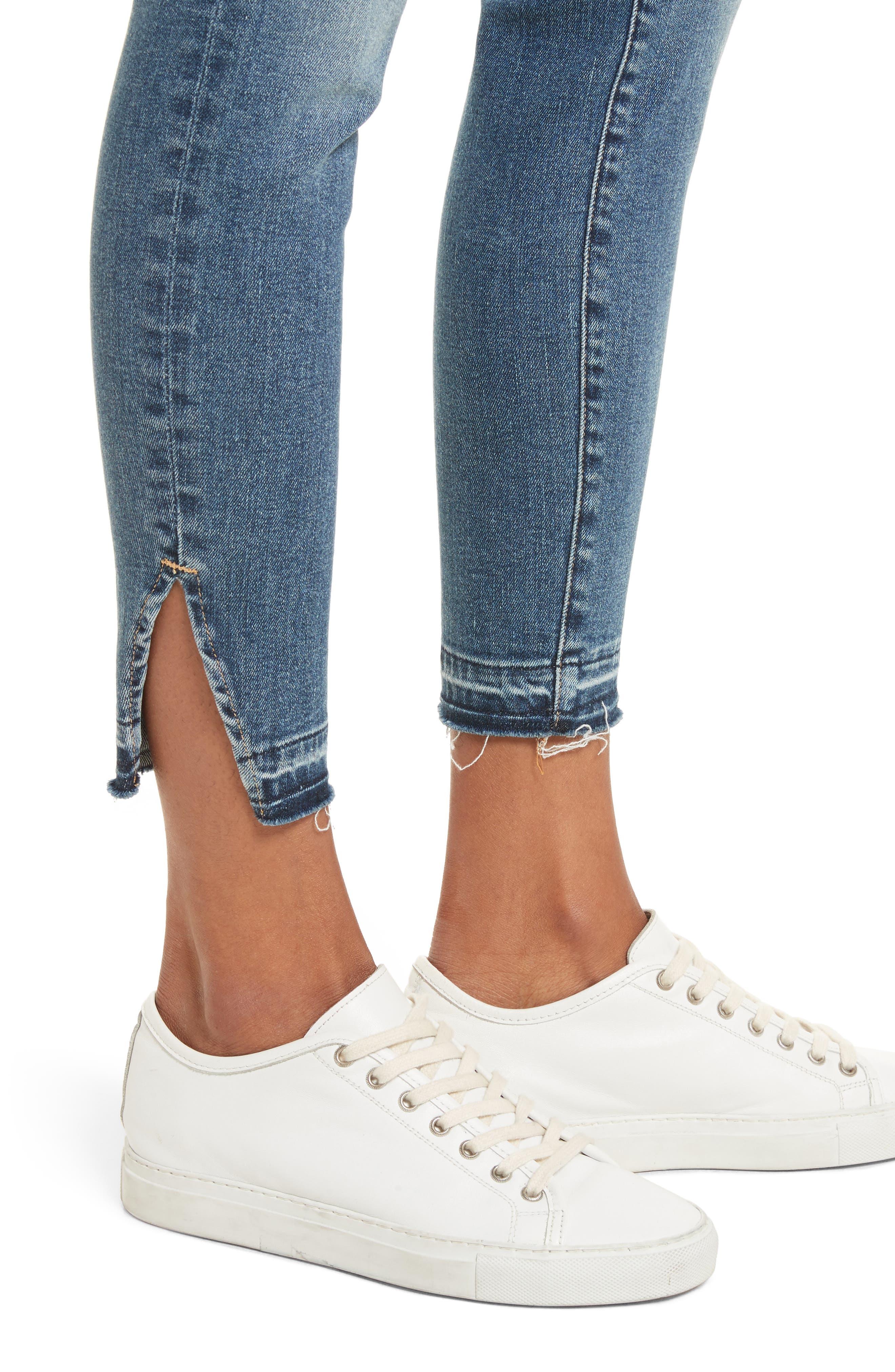 Le High Raw Hem Skinny Jeans,                             Alternate thumbnail 4, color,