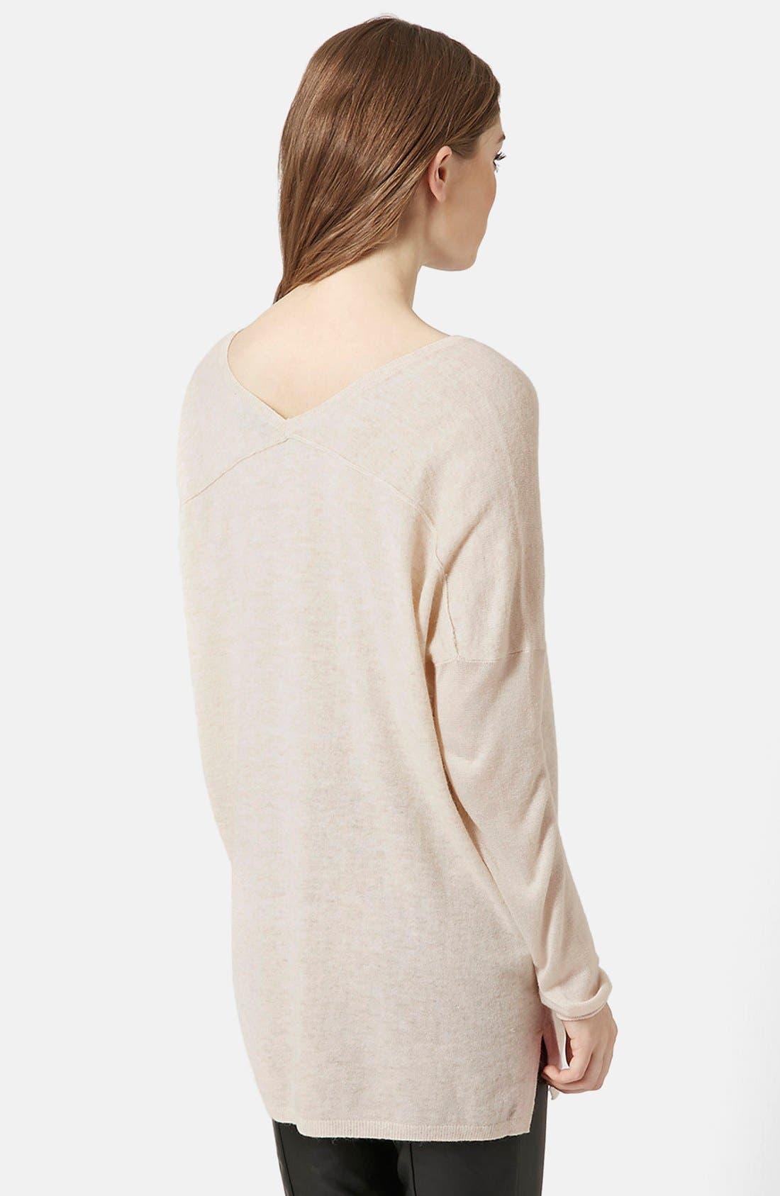 Front Seam V-Neck Sweater,                             Alternate thumbnail 9, color,