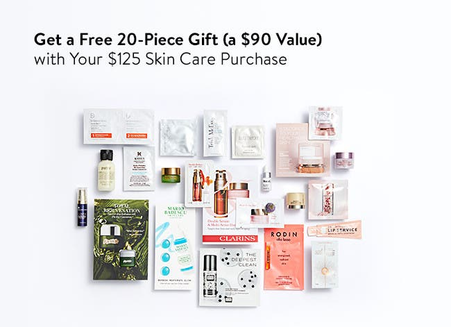 Free 20-piece gift with your $125 skin care purchase. A $90 value.