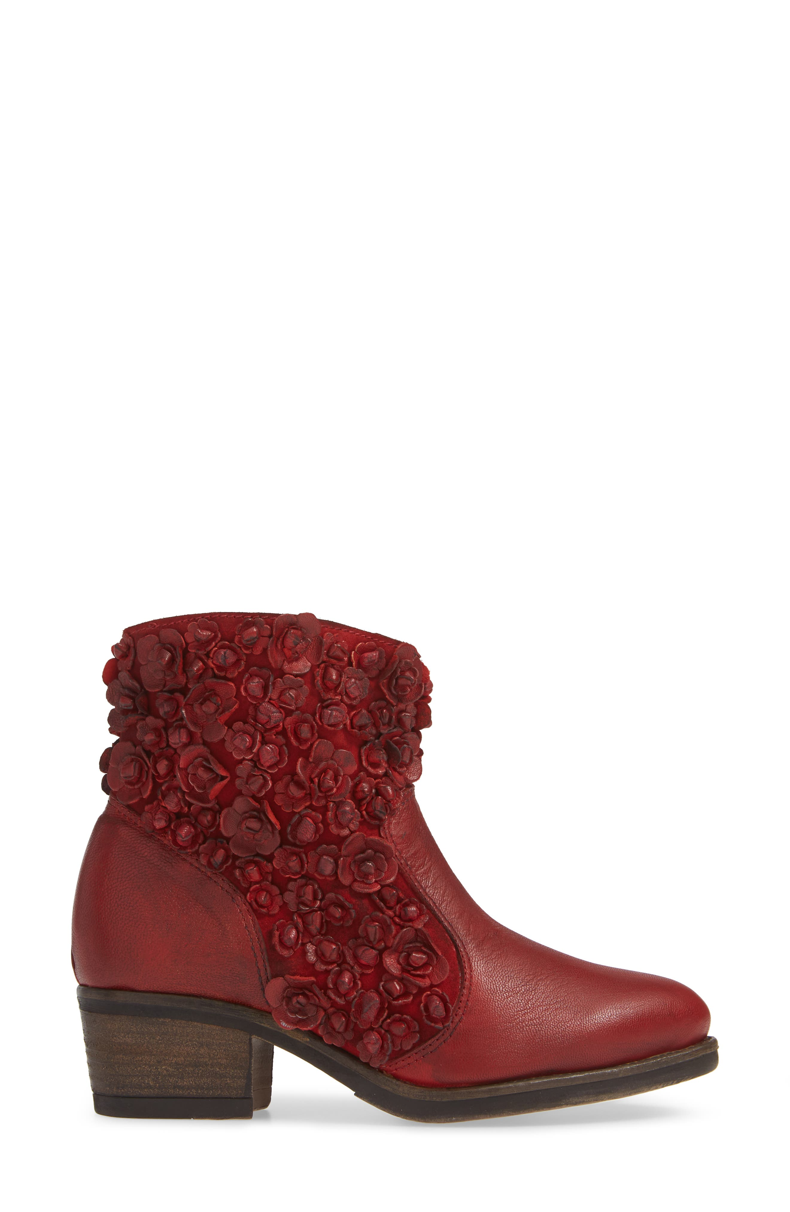 Sapphire Bootie,                             Alternate thumbnail 3, color,                             RED LEATHER