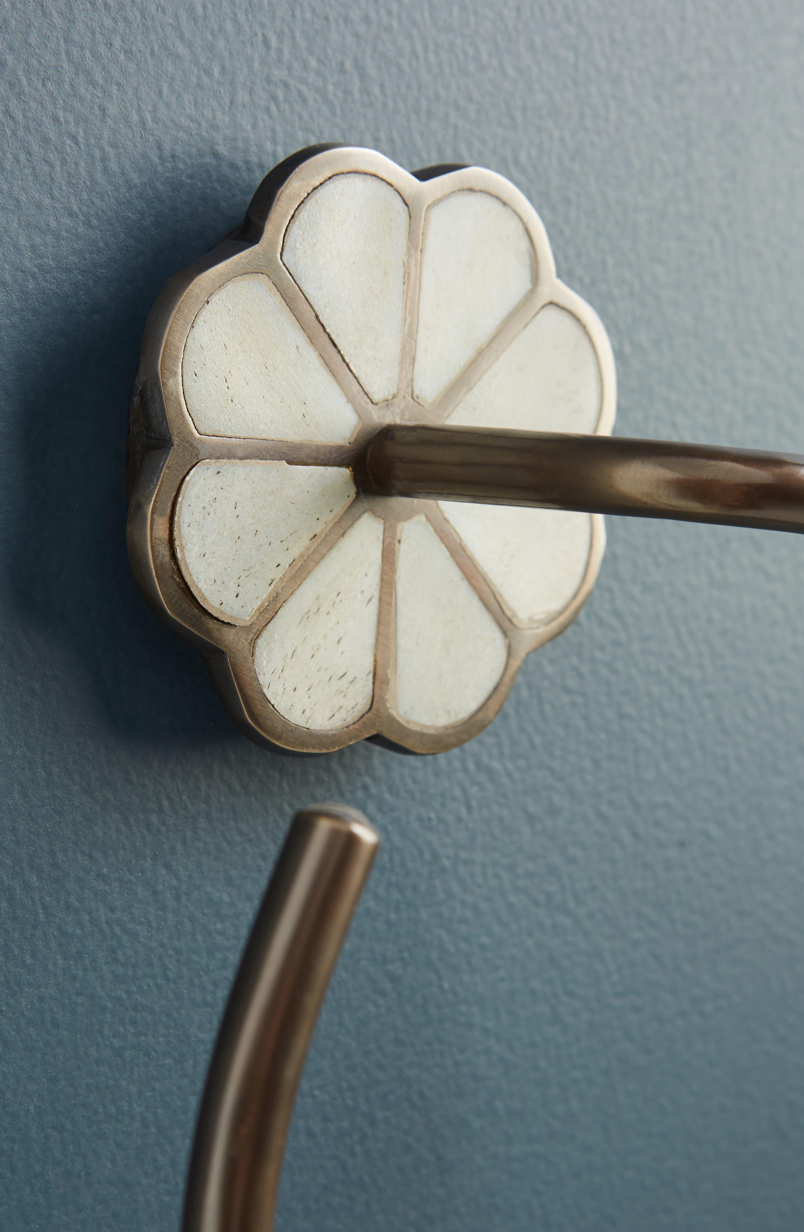 ANTHROPOLOGIE,                             Botanist Towel Ring,                             Alternate thumbnail 3, color,                             WHITE/ OIL RUBBED BRONZE