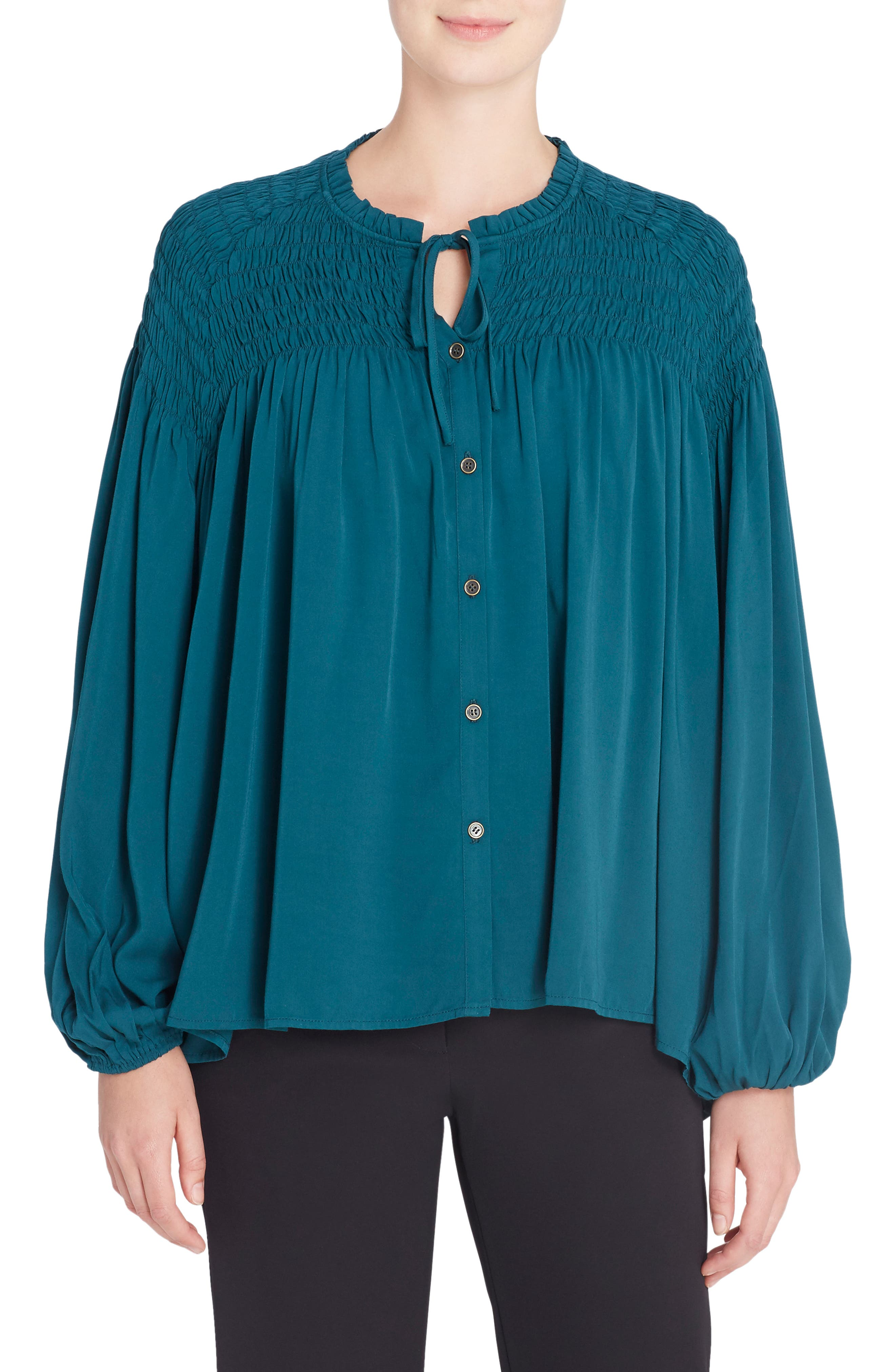 Julie Shirred Blouse,                         Main,                         color, 347