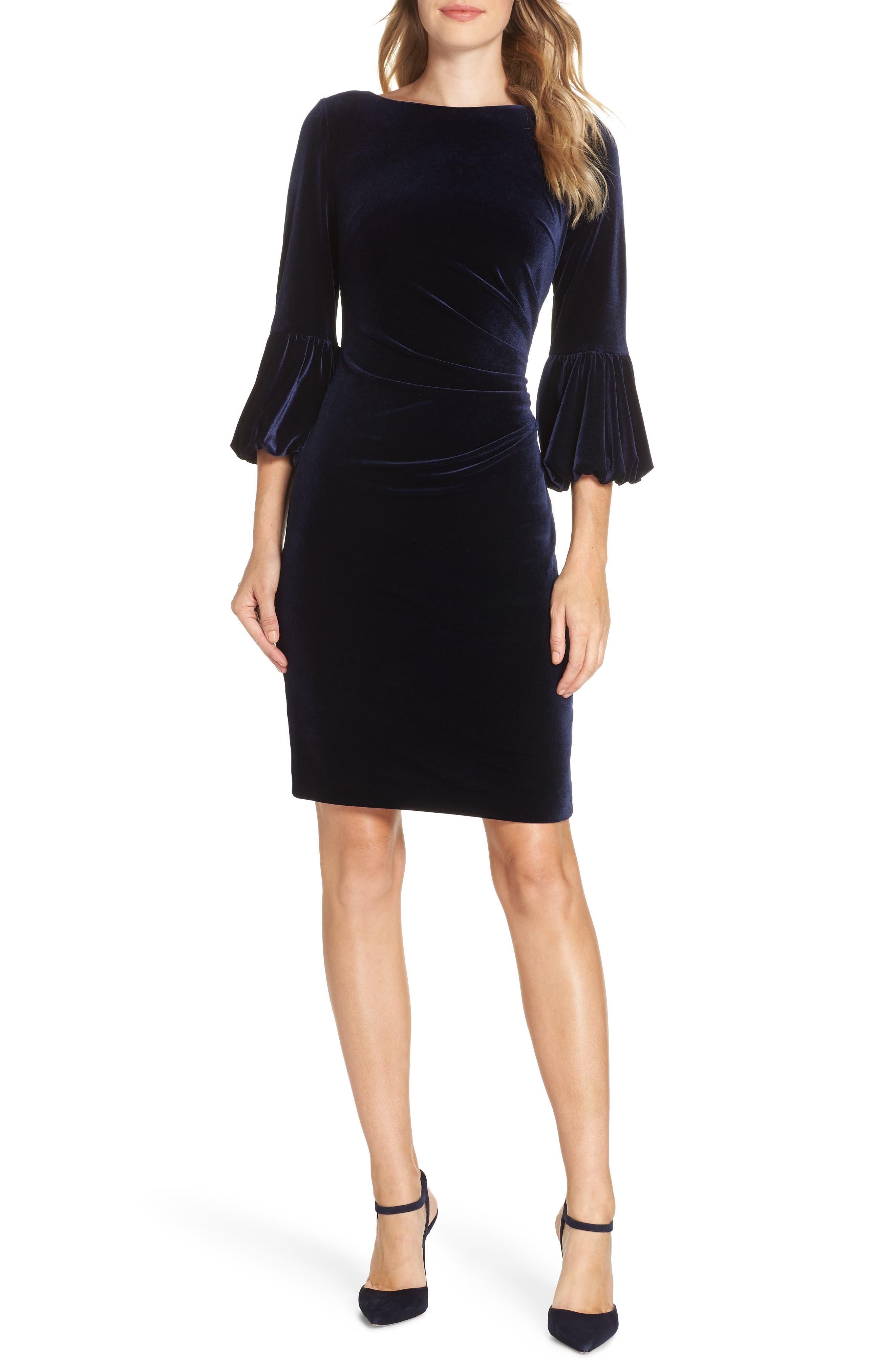 Eliza J Bubble Sleeve Velvet Sheath Dress