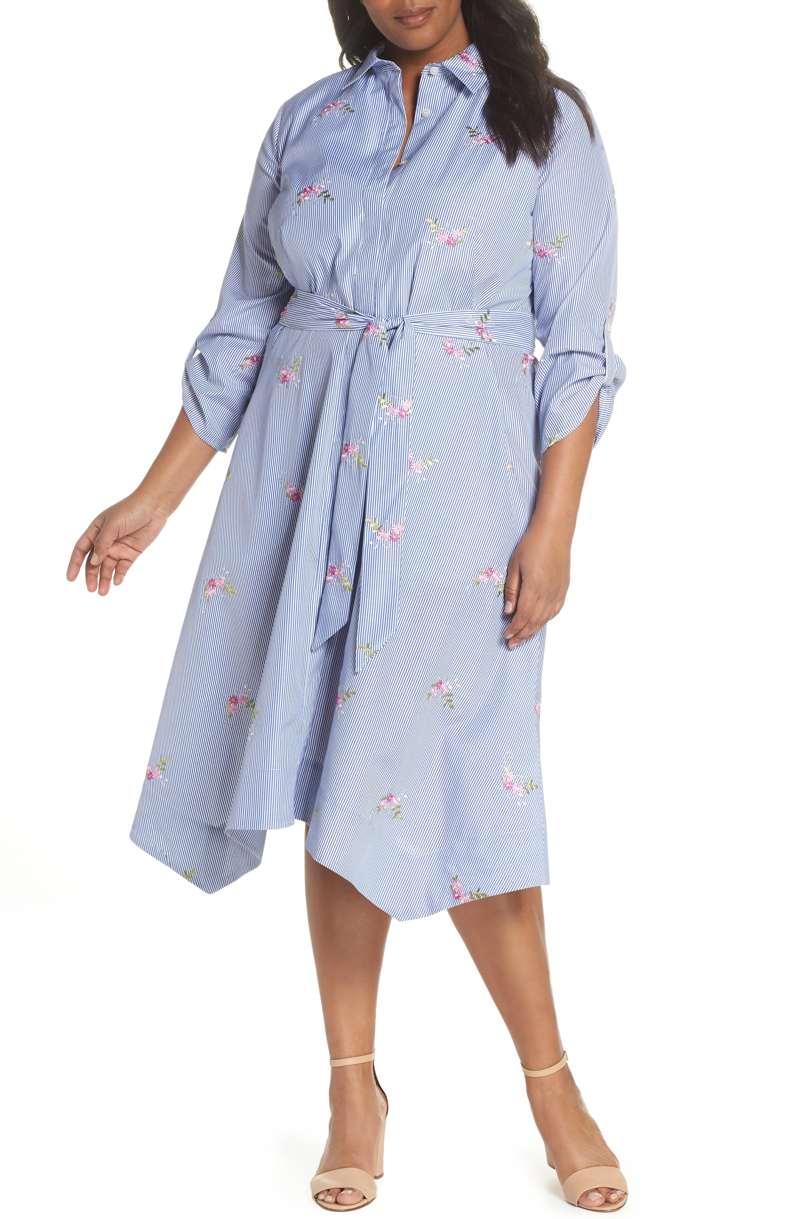 Embroidered Stripe Shirtdress,                             Main thumbnail 1, color,                             NAVY/ WHITE/ PINK