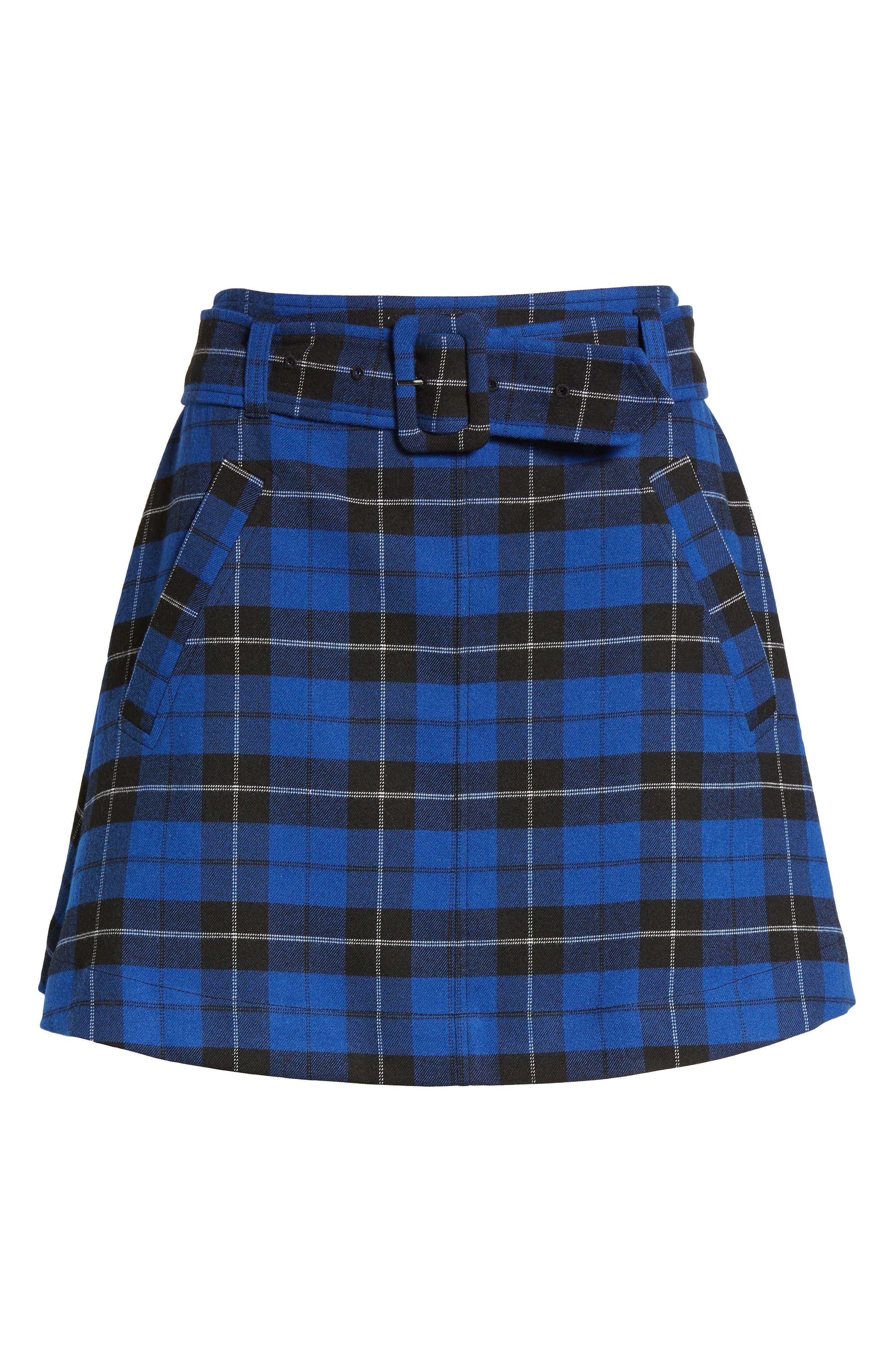 Belted Plaid Skirt,                             Alternate thumbnail 7, color,                             420