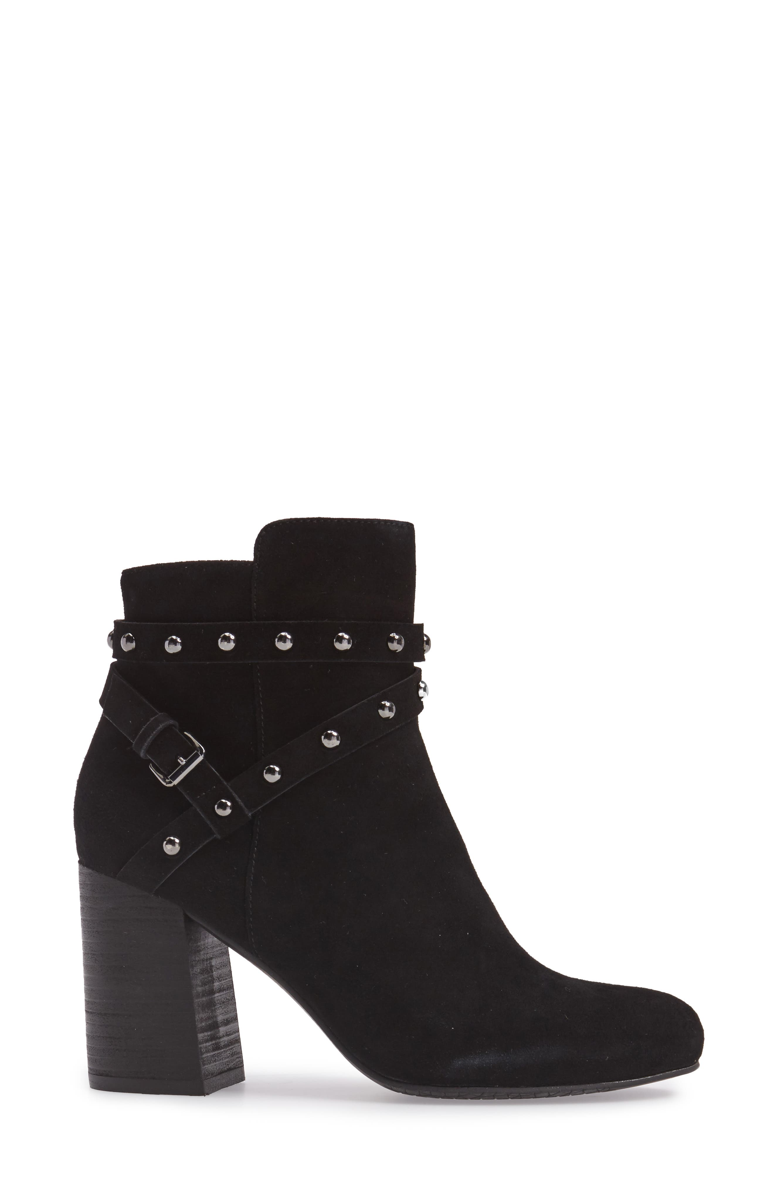 Kolo Flared-Heel Studded Bootie,                             Alternate thumbnail 3, color,                             001