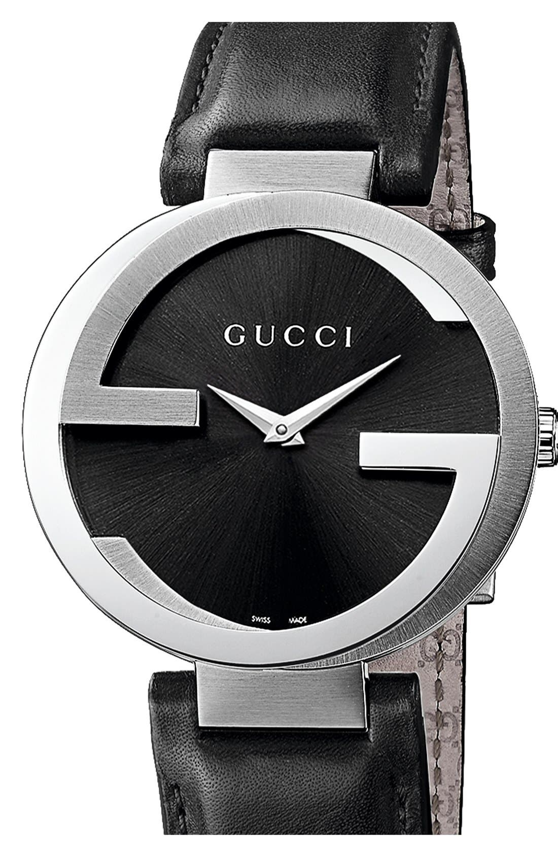 Interlocking Leather Strap Watch, 42mm,                             Main thumbnail 2, color,