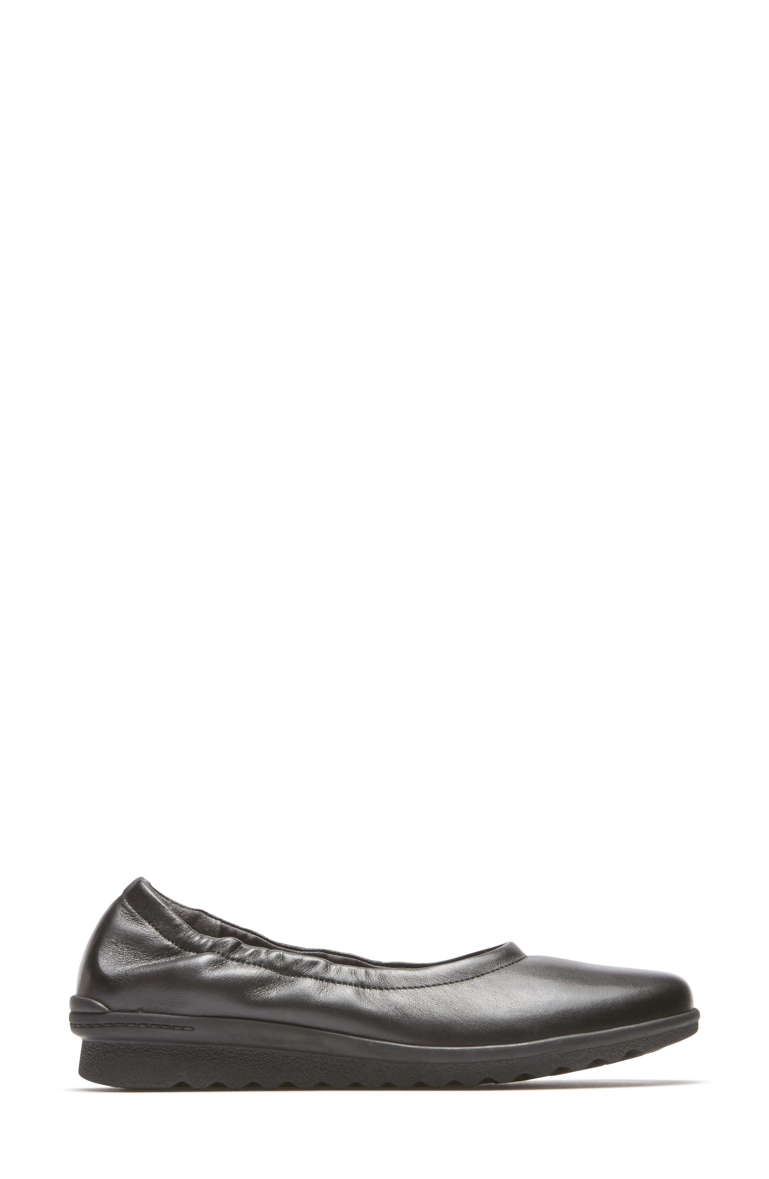 Chenole Ballet Flat,                             Alternate thumbnail 3, color,                             BLACK LEATHER