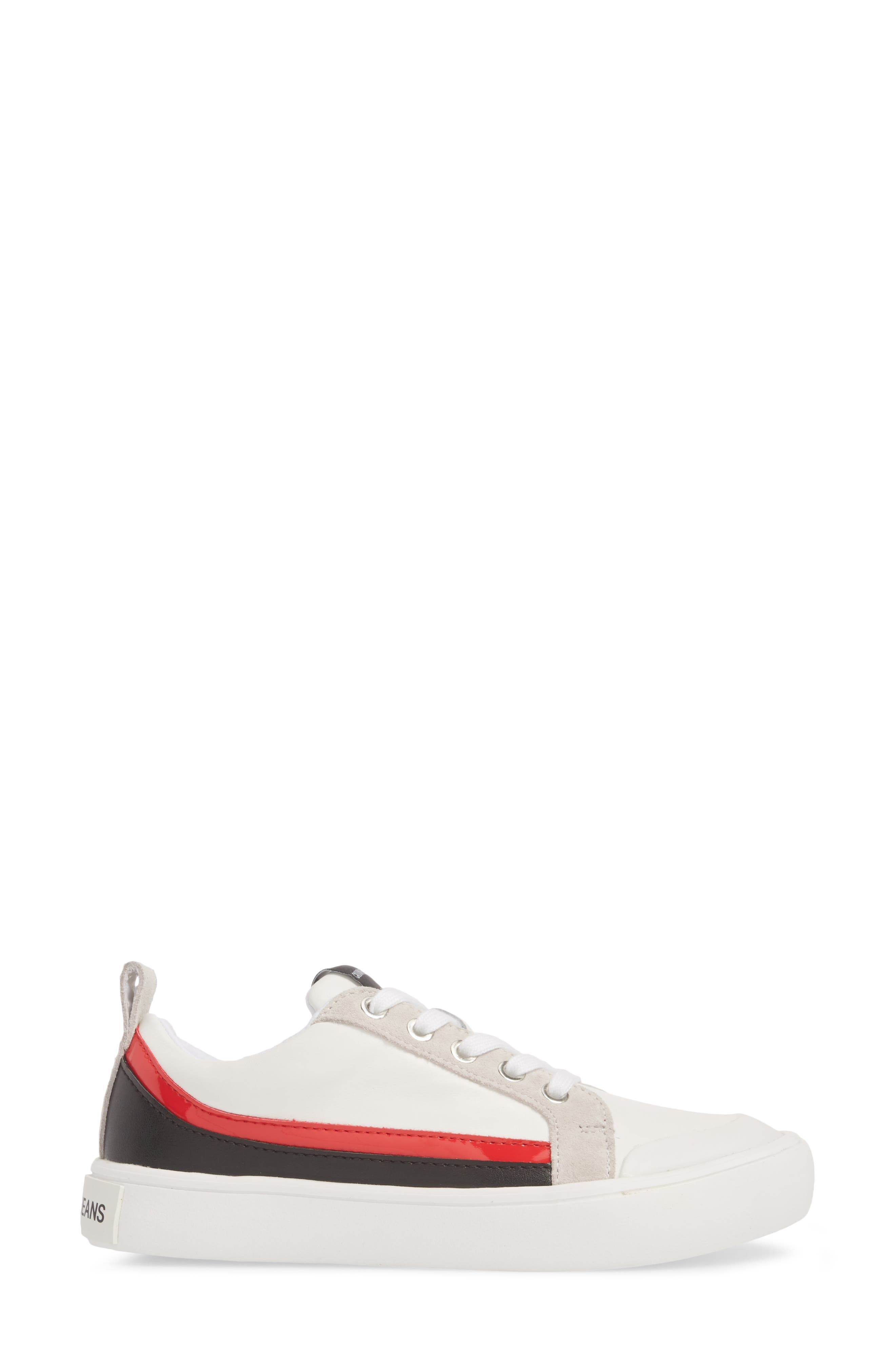 Dodie Sneaker,                             Alternate thumbnail 3, color,                             WHITE/ BLACK/ TOMATO