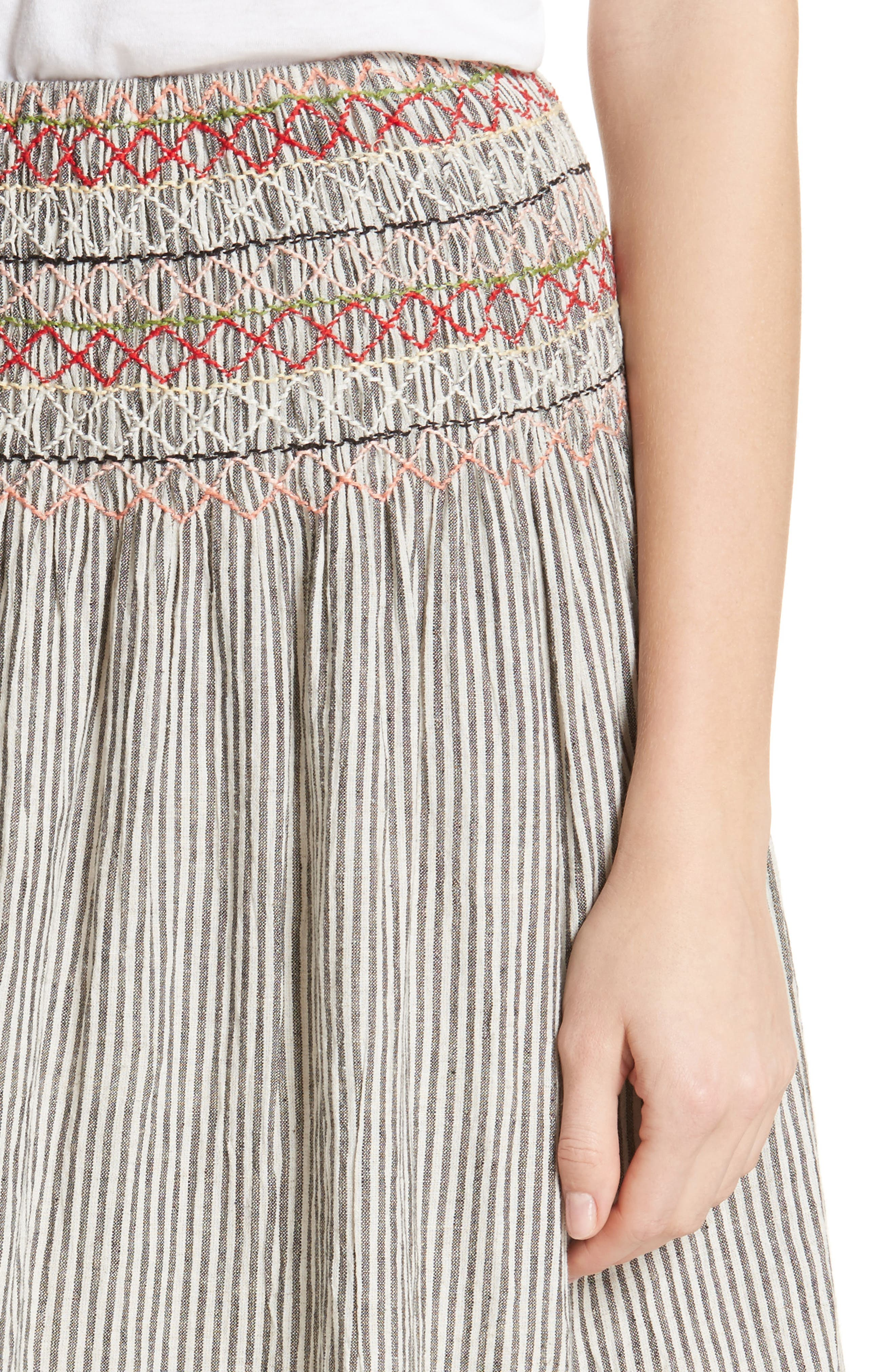 The Vista Cotton & Linen Skirt,                             Alternate thumbnail 4, color,