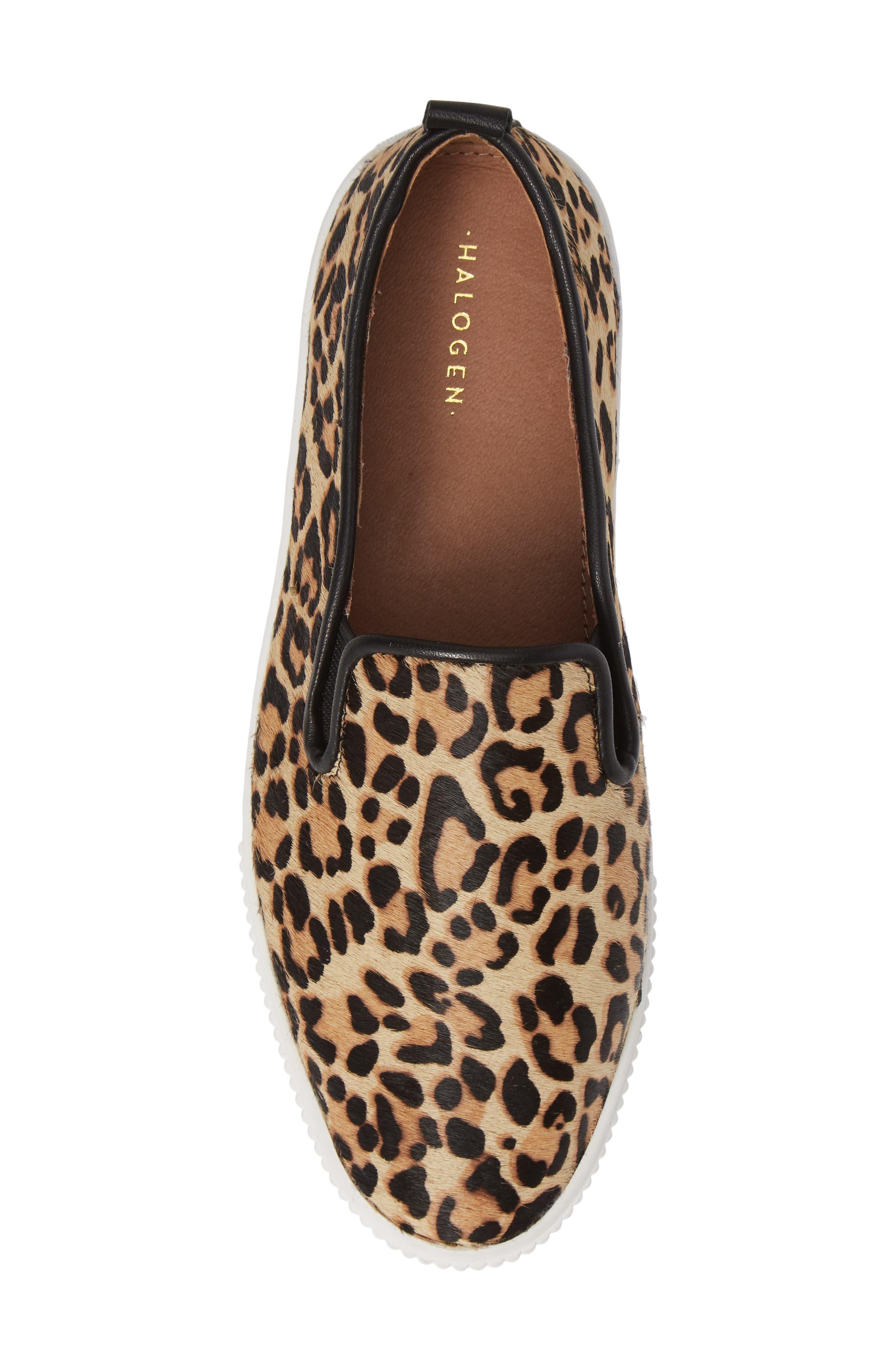 Baylee Platform Slip-On Sneaker,                             Alternate thumbnail 5, color,                             LEOPARD HAIRCALF