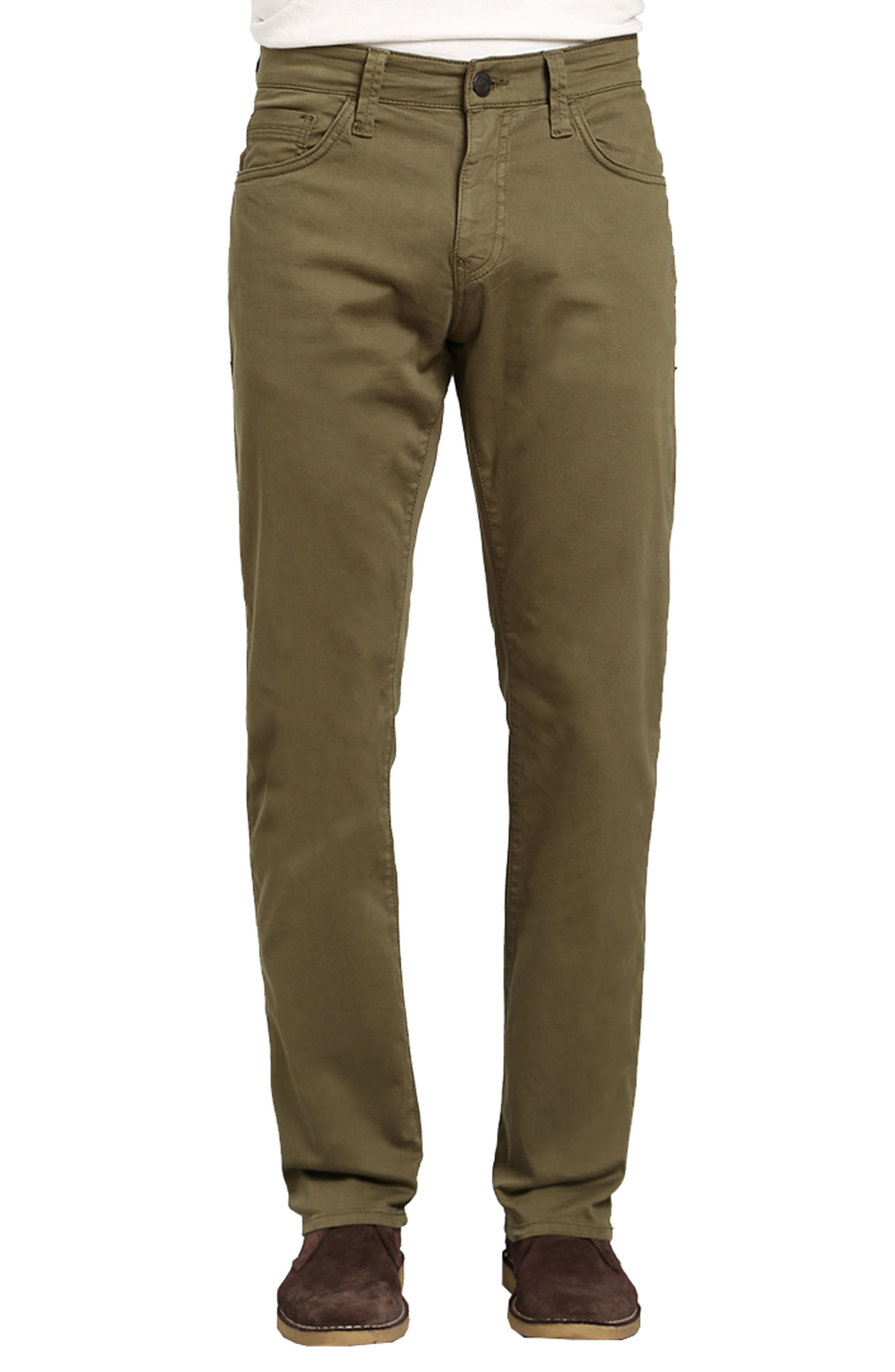 Zach Straight Fit Twill Pants,                         Main,                         color, GREEN OLIVE TWILL